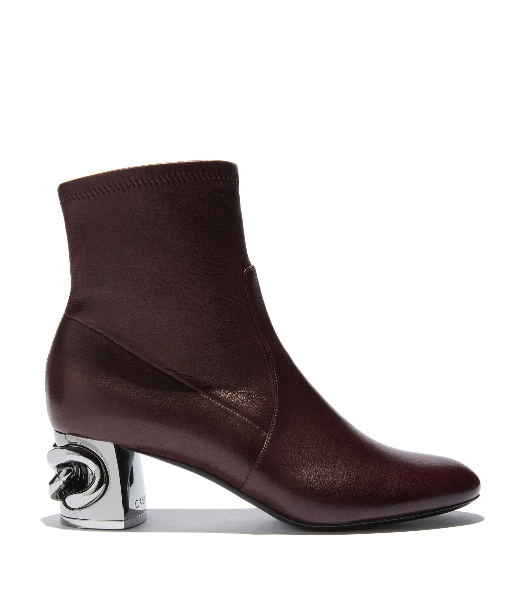 Casadei Ankle Boots - Maxi Chain Marsala Stretch nappa leather