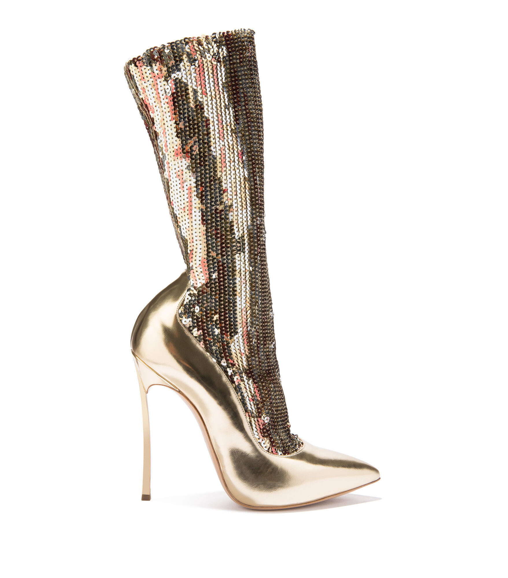 Casadei Ankle Boots - Blade Golden Elasticated socks covered in sequins