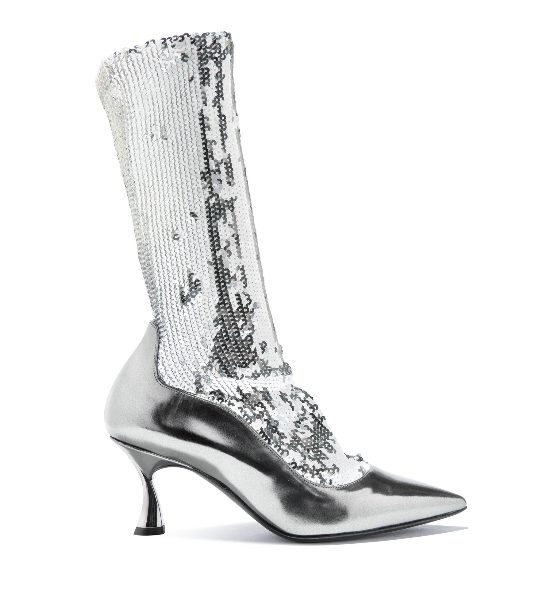 Casadei Ankle Boots - Kitten Blade Silver Elasticated socks covered in sequins
