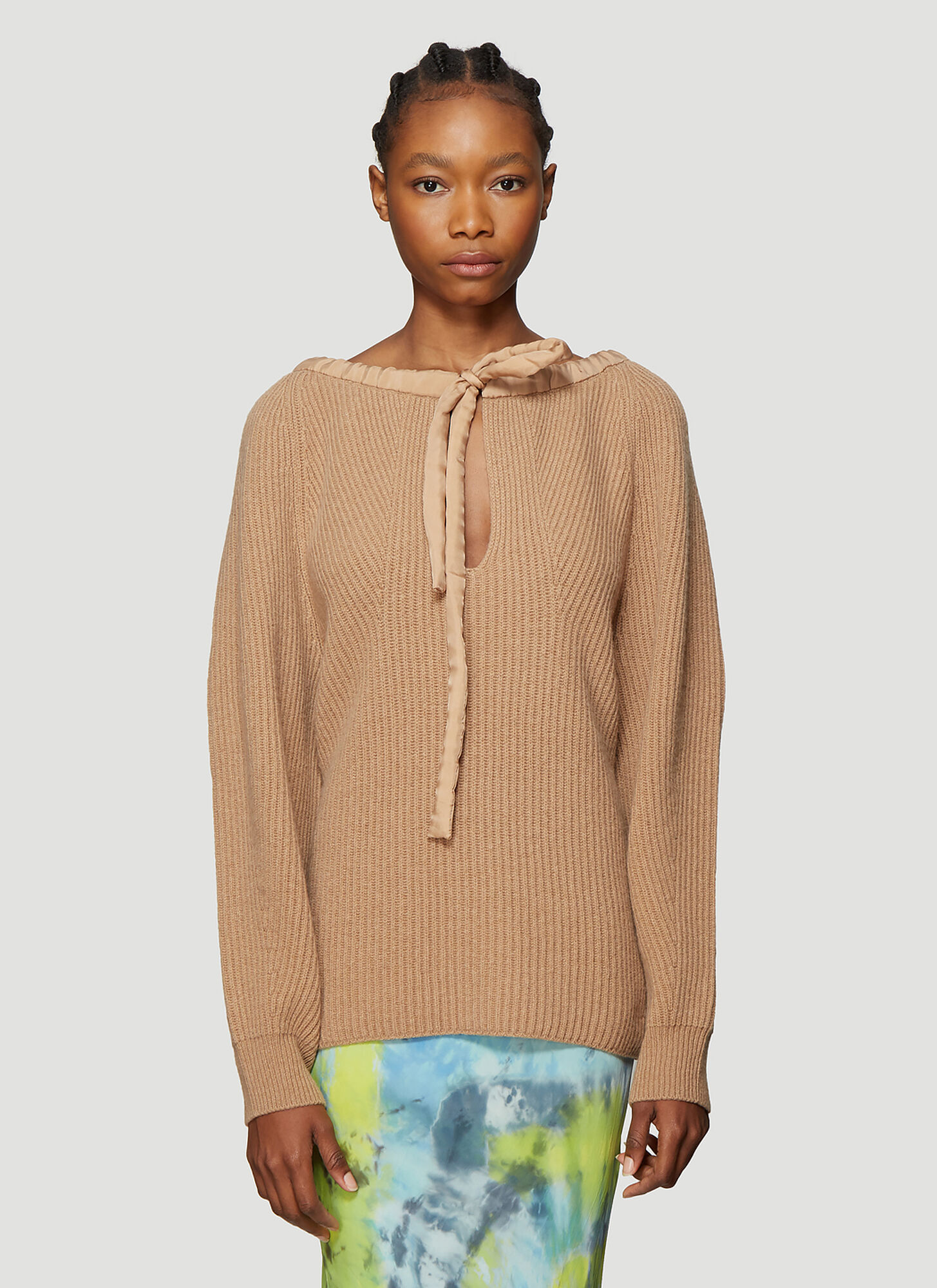 Photo of Stella McCartney Cold-Shoulder Sweater in Beige - Stella McCartney Knitwear