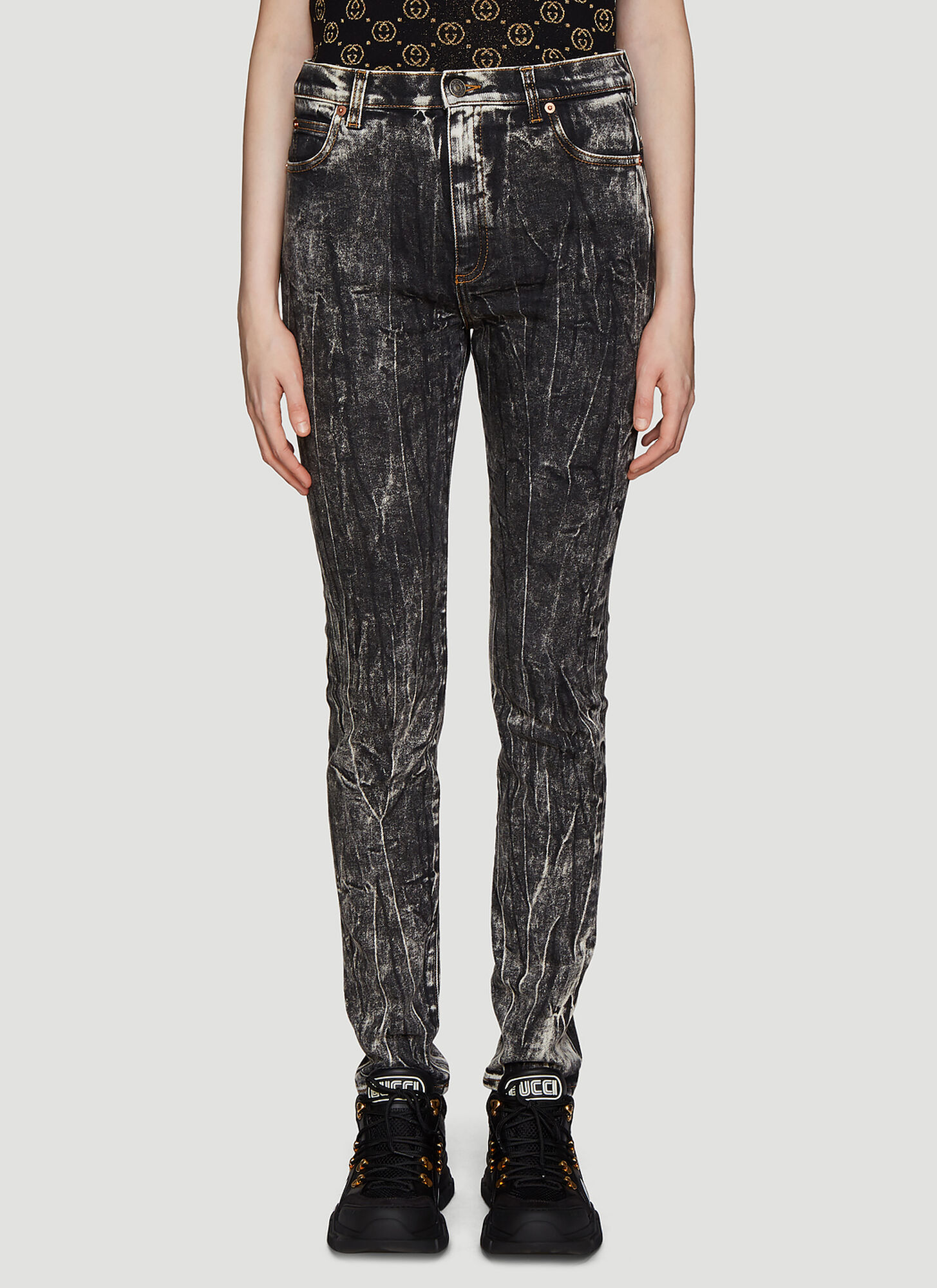 Gucci Washed Denim Jeans in Black