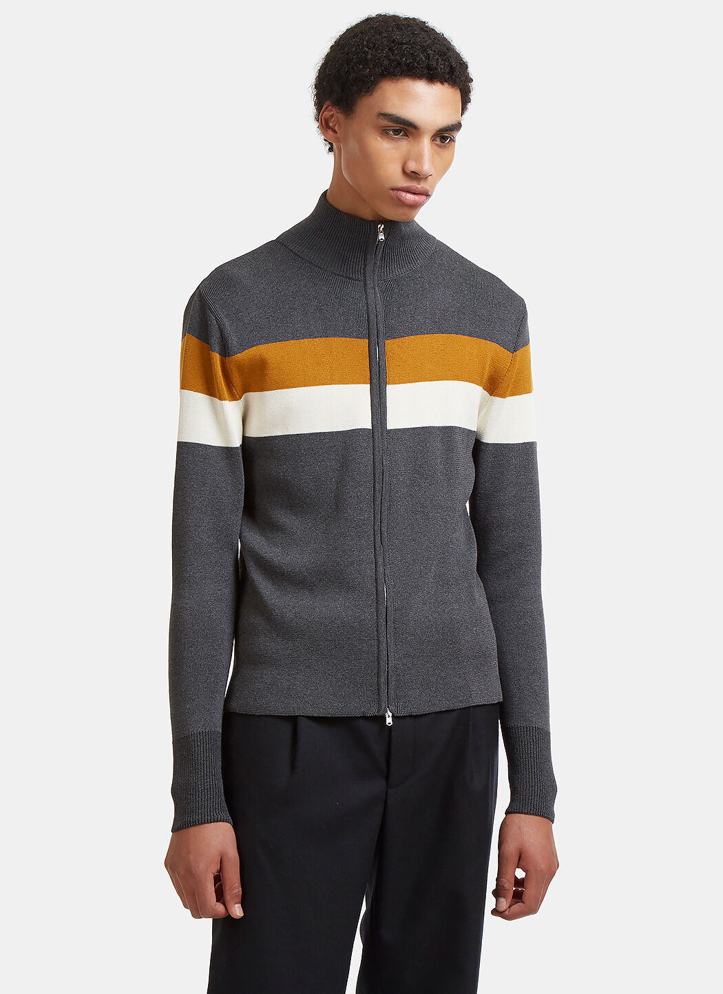 WALES BONNER EMORY CONTRAST STRIPED ZIP-UP SWEATER IN GREY