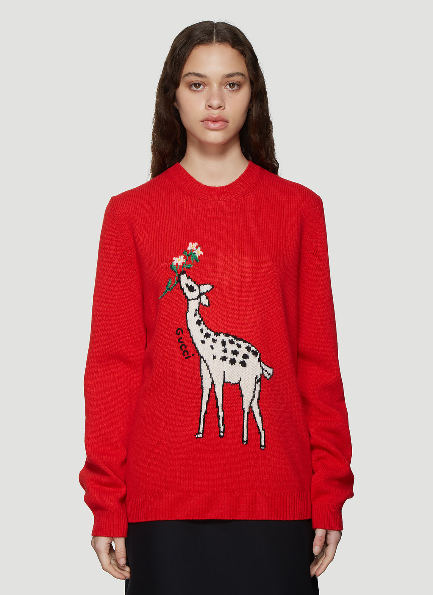 Gucci Intarsia Knit Sweater in Red