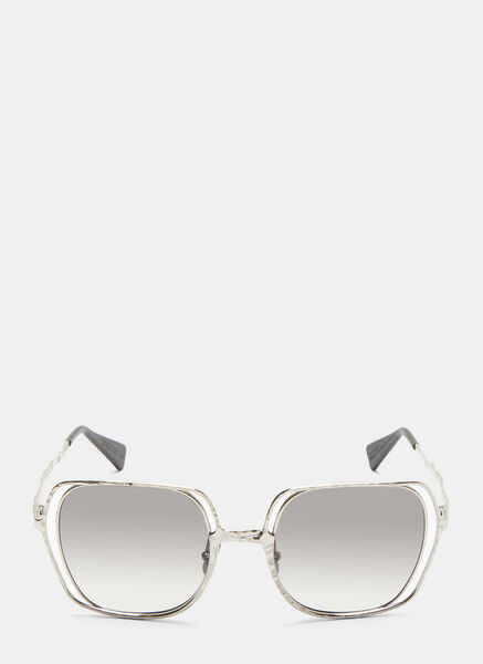 MASK H14 CHISELLED SQUARE SUNGLASSES IN SILVER