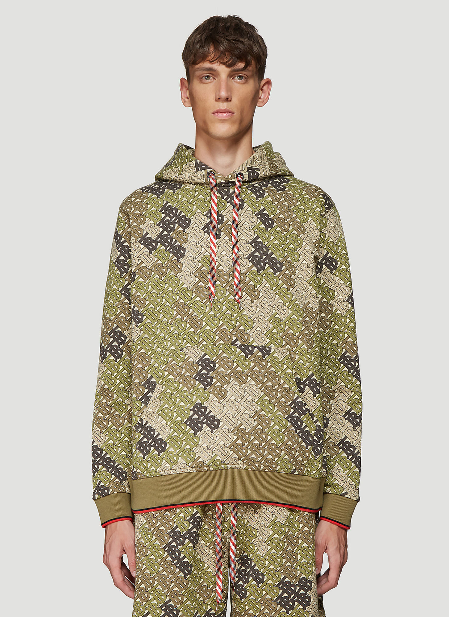 Burberry Monogram Hooded Sweater in Green size S