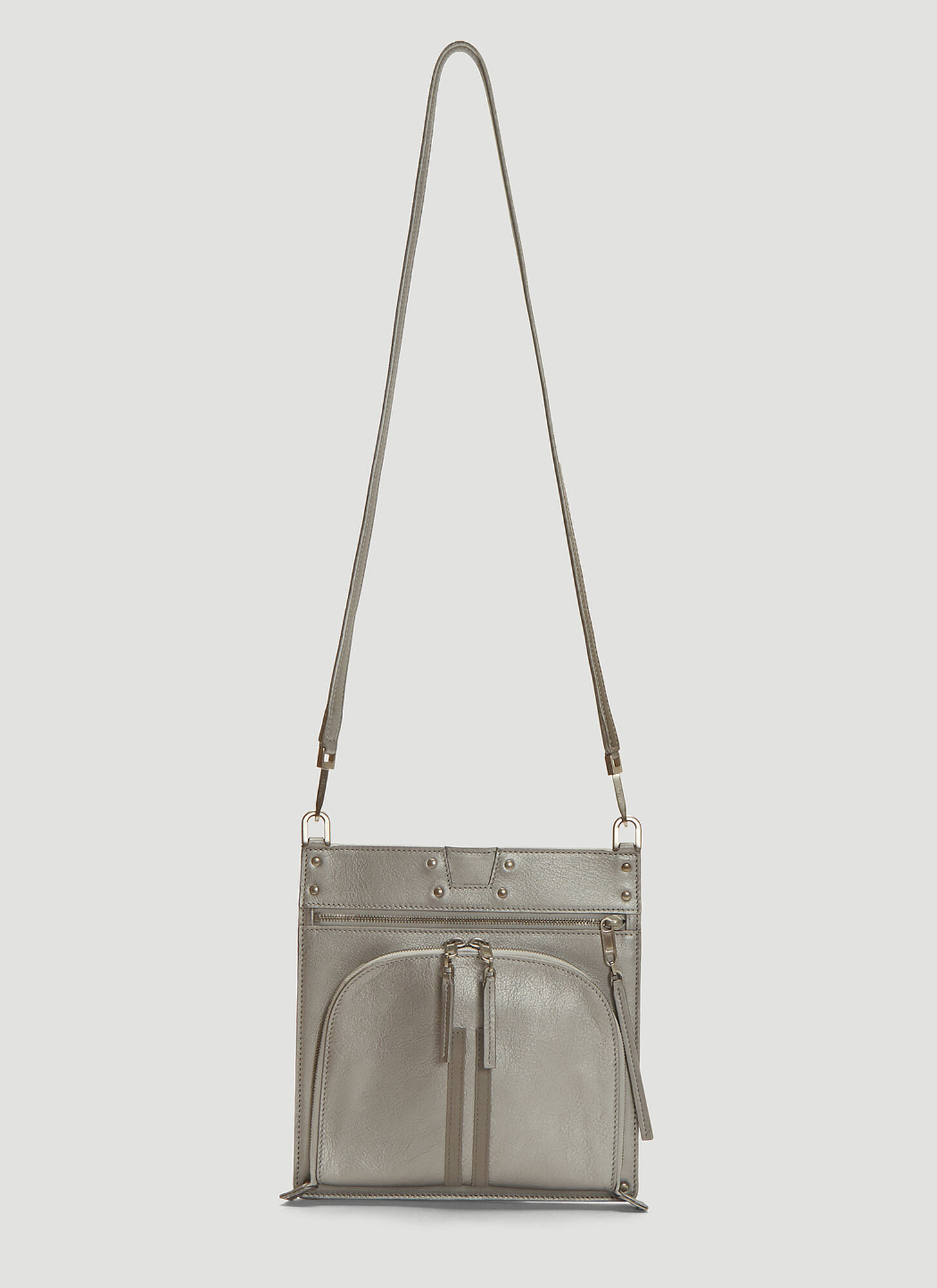 Rick Owens Moon Pocket Leather Cross Body Bag in Silver