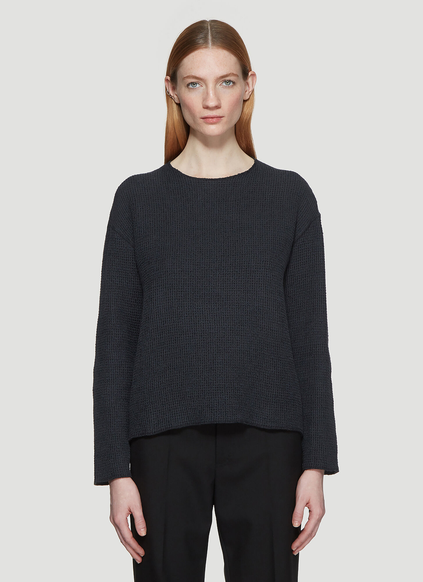 Our Legacy Raw Round Neck Waffle Knit Sweater in Grey