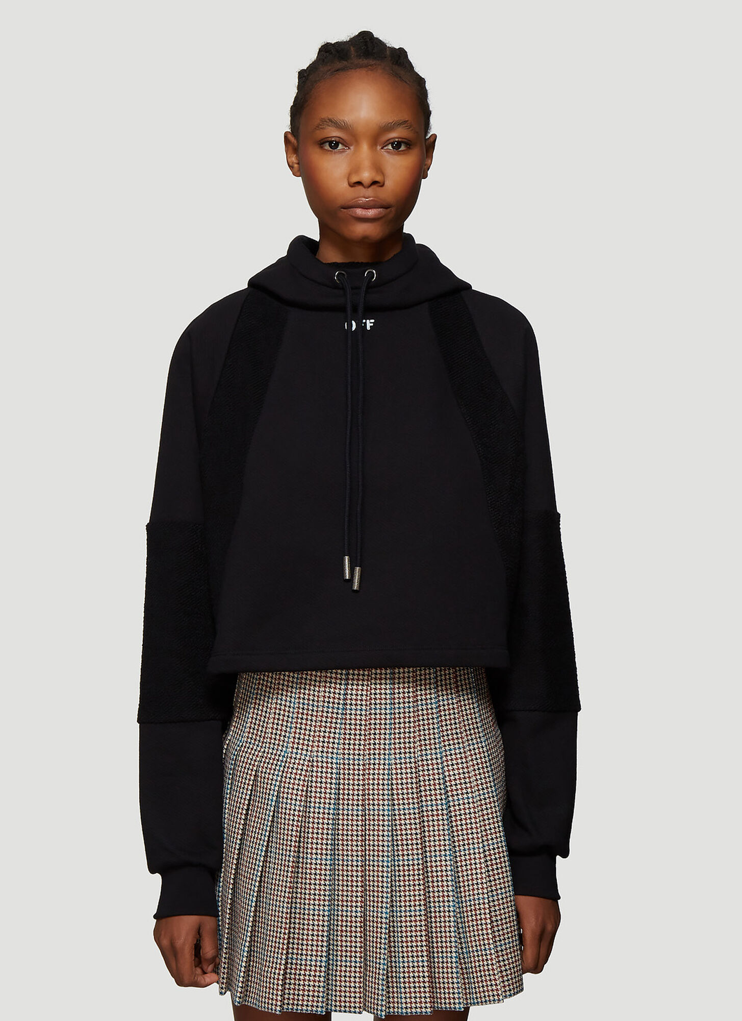Off-White Contrast Panel Cropped Hooded Sweatshirt in Black