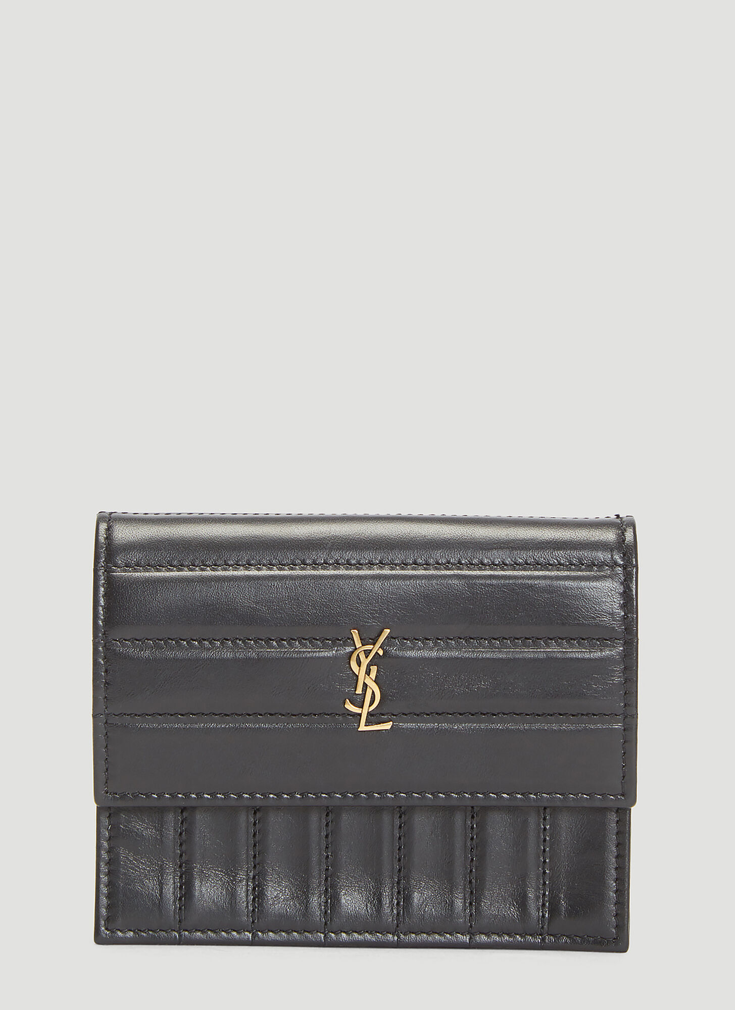 Saint Laurent Crinkled Victoire Wallet in Black