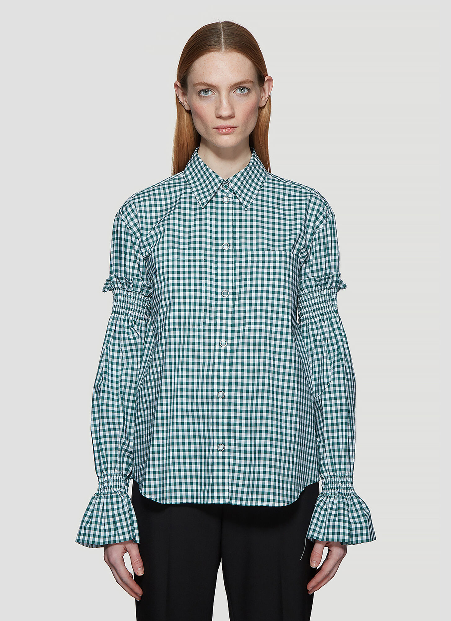 Burberry Puff Sleeve Check Print Shirt in Green