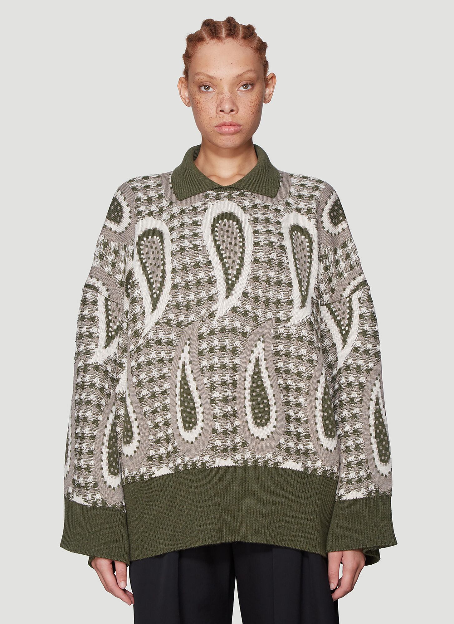 JW Anderson Paisley Knitted Sweater in Green