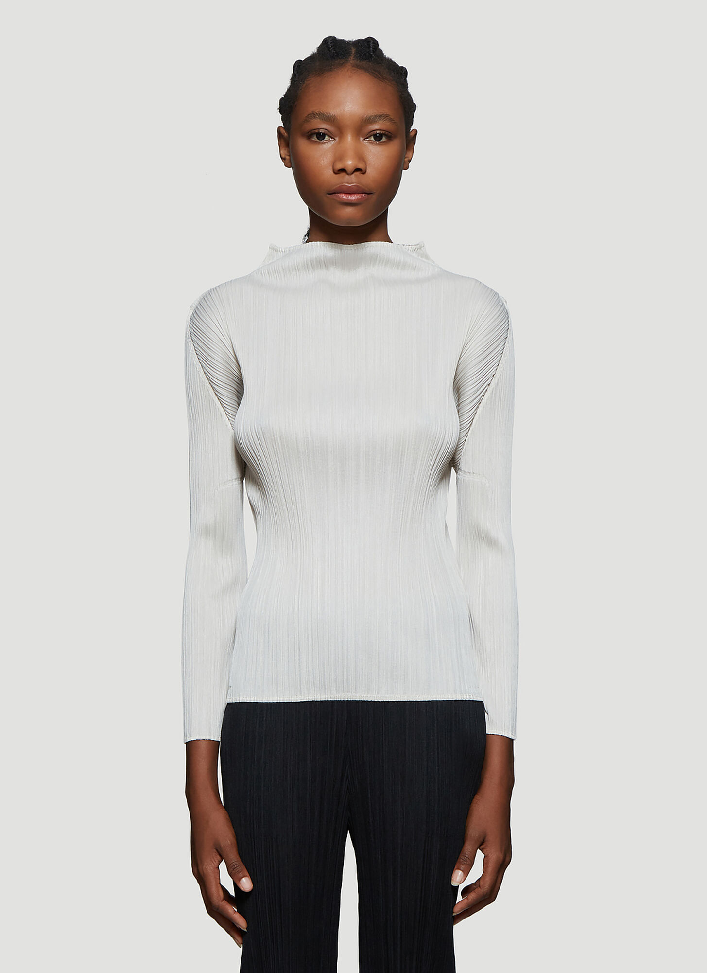 Pleats Please Issey Miyake Basic Pleated Long Sleeve Top in Beige