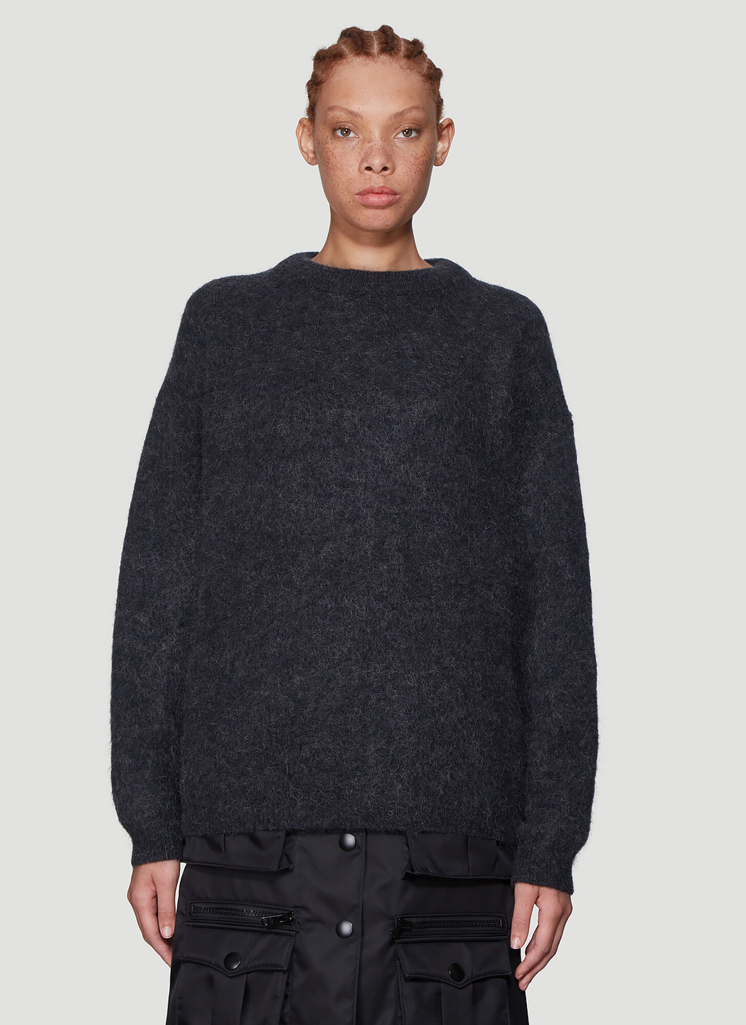 Acne Studios Dramatic Textured Knit Sweater in Grey