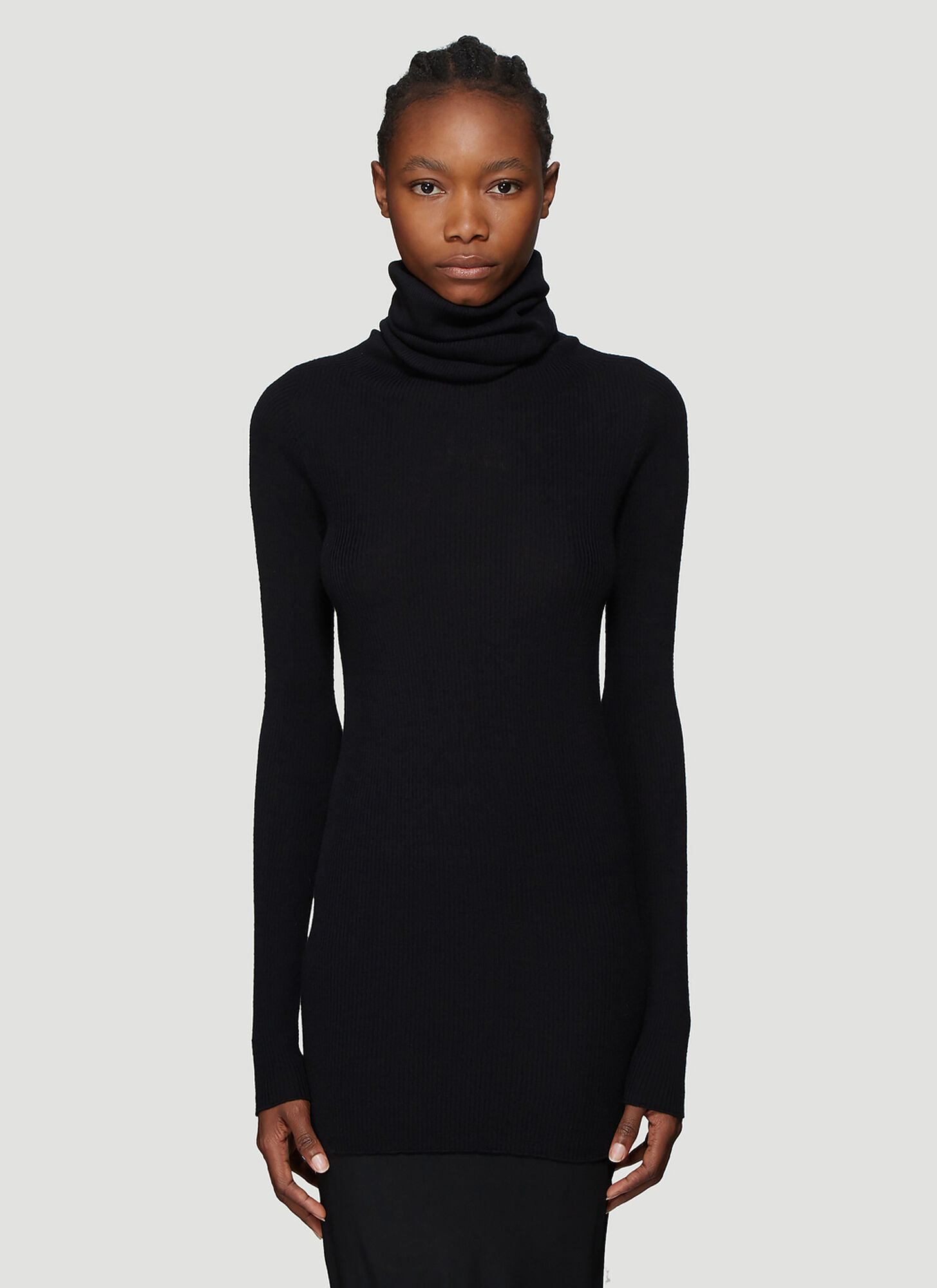 Rick Owens Ribbed Knit Roll Neck Top in Black