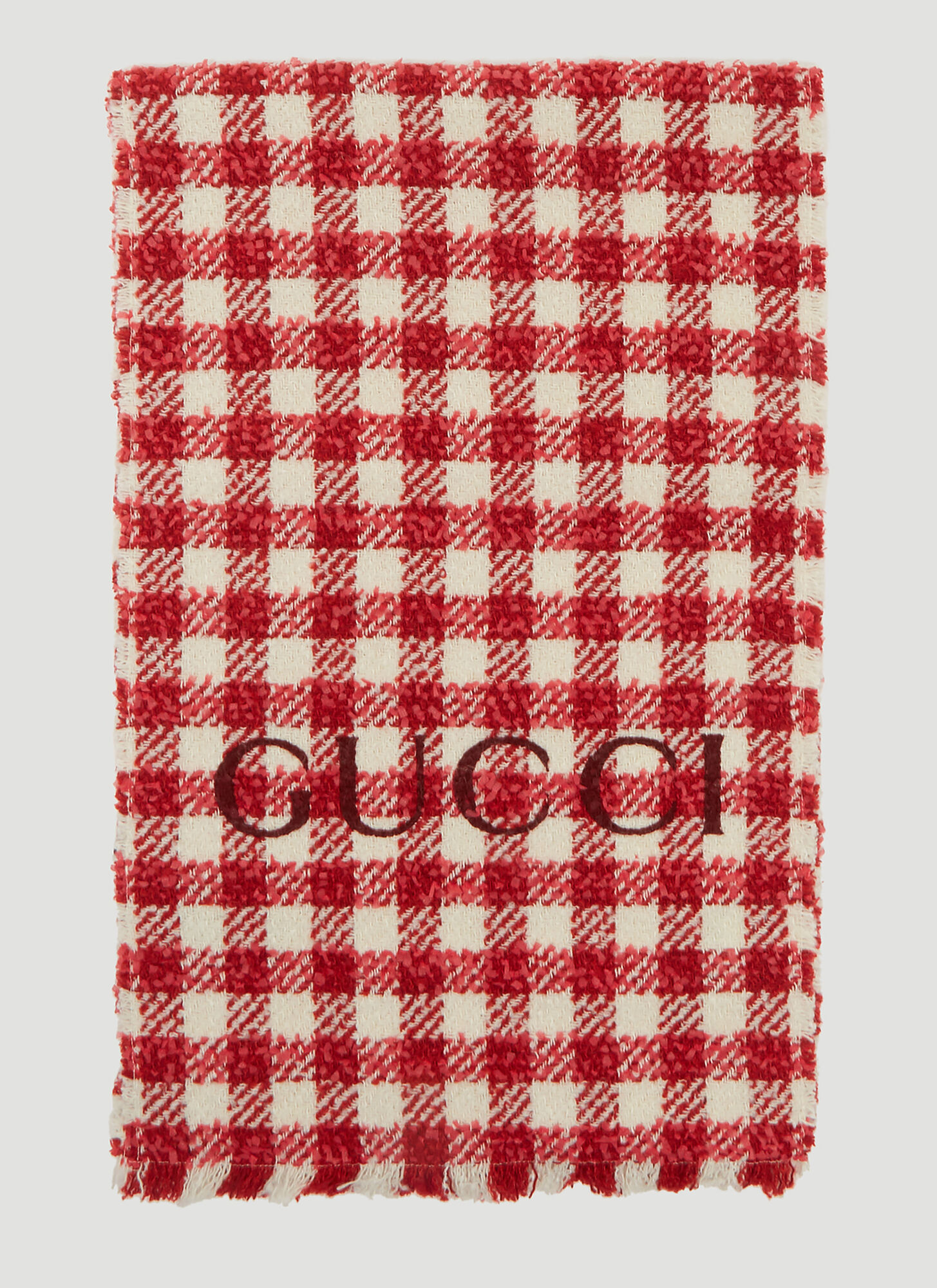 Gucci Tweed Wool Scarf in Red