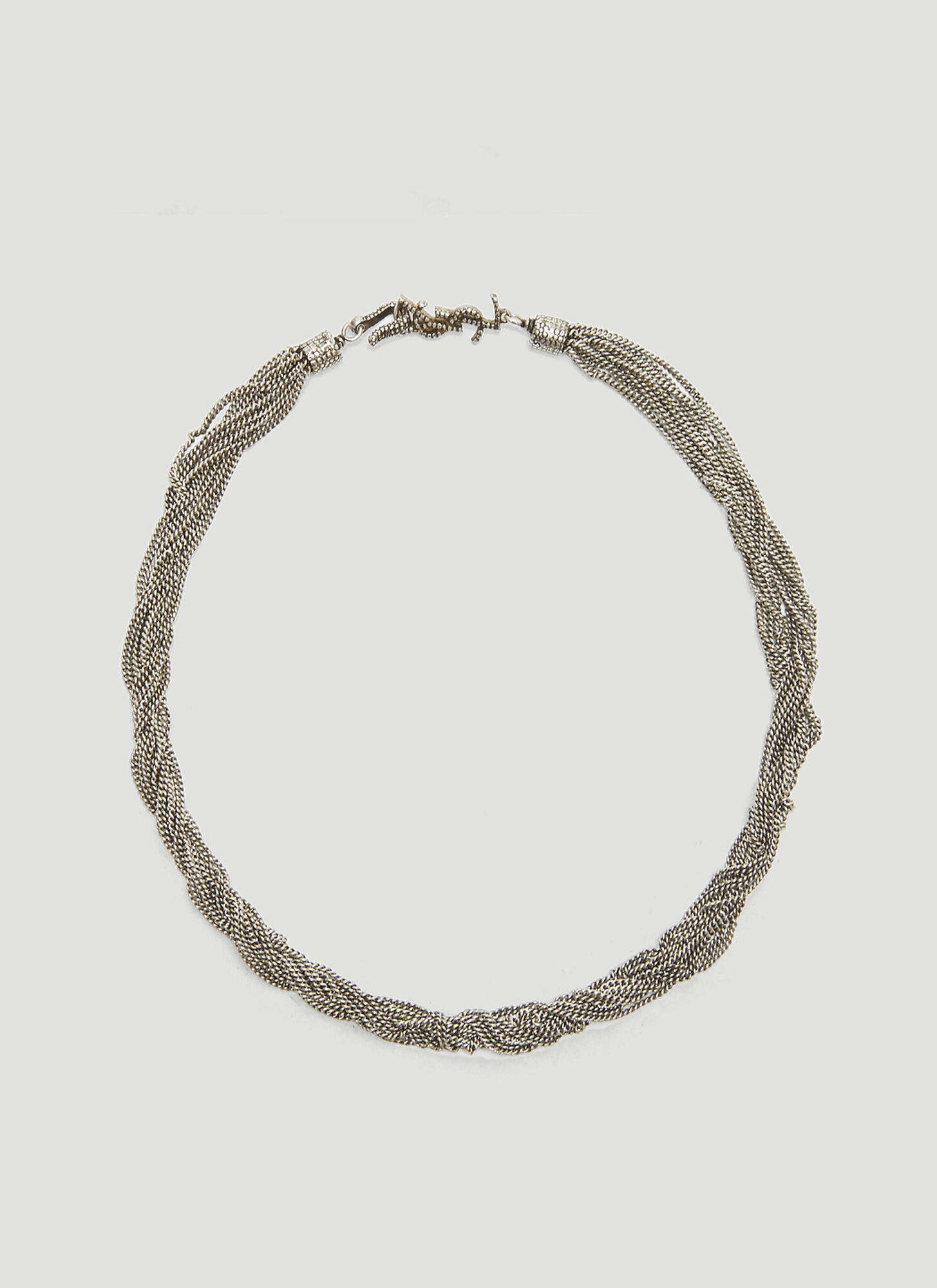 Saint Laurent Loulou Twisted Chain Choker Necklace in Silver