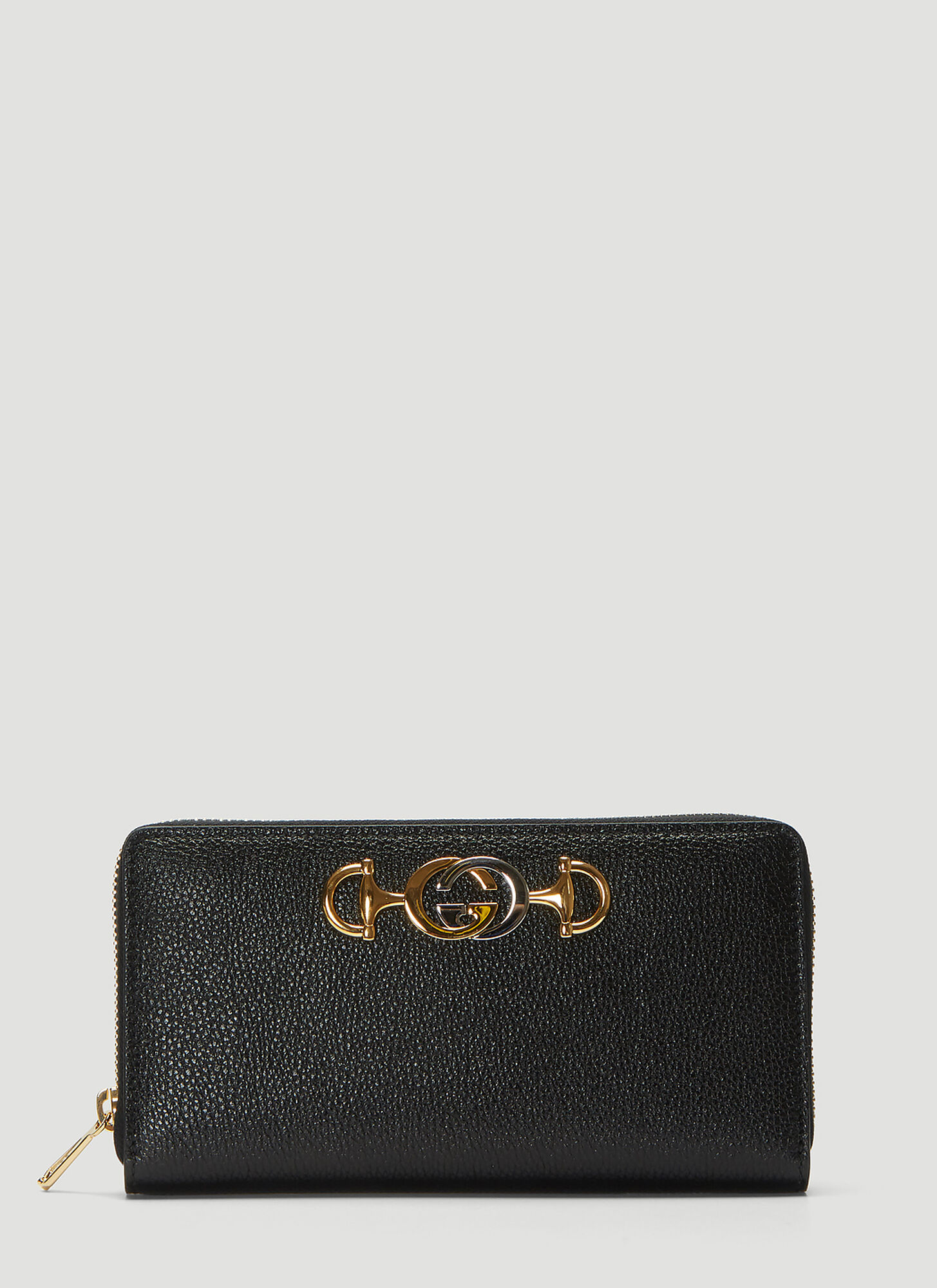 Gucci Zumi Leather Zip Around Wallet in Black