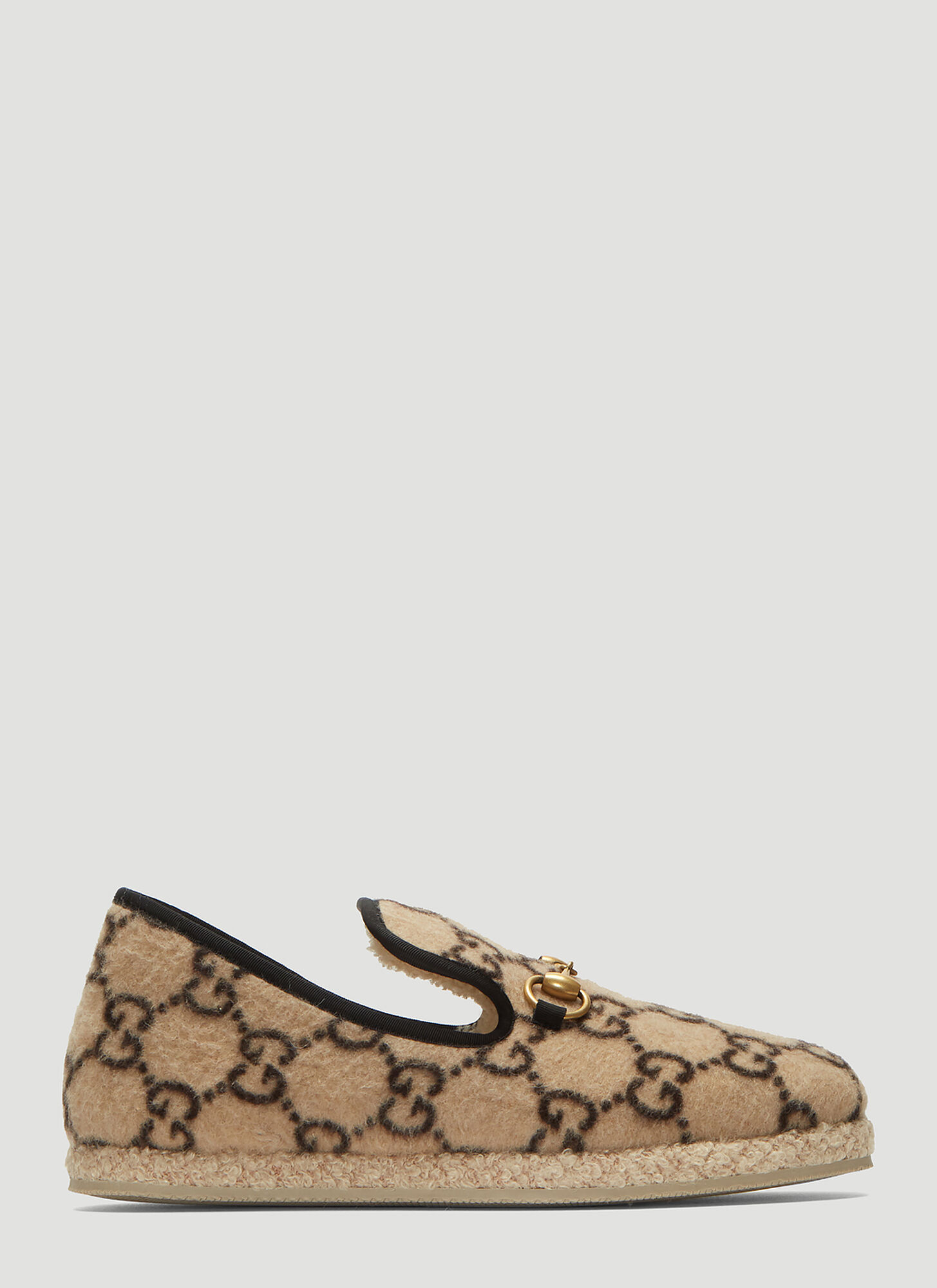Gucci GG Wool Loafers in Beige