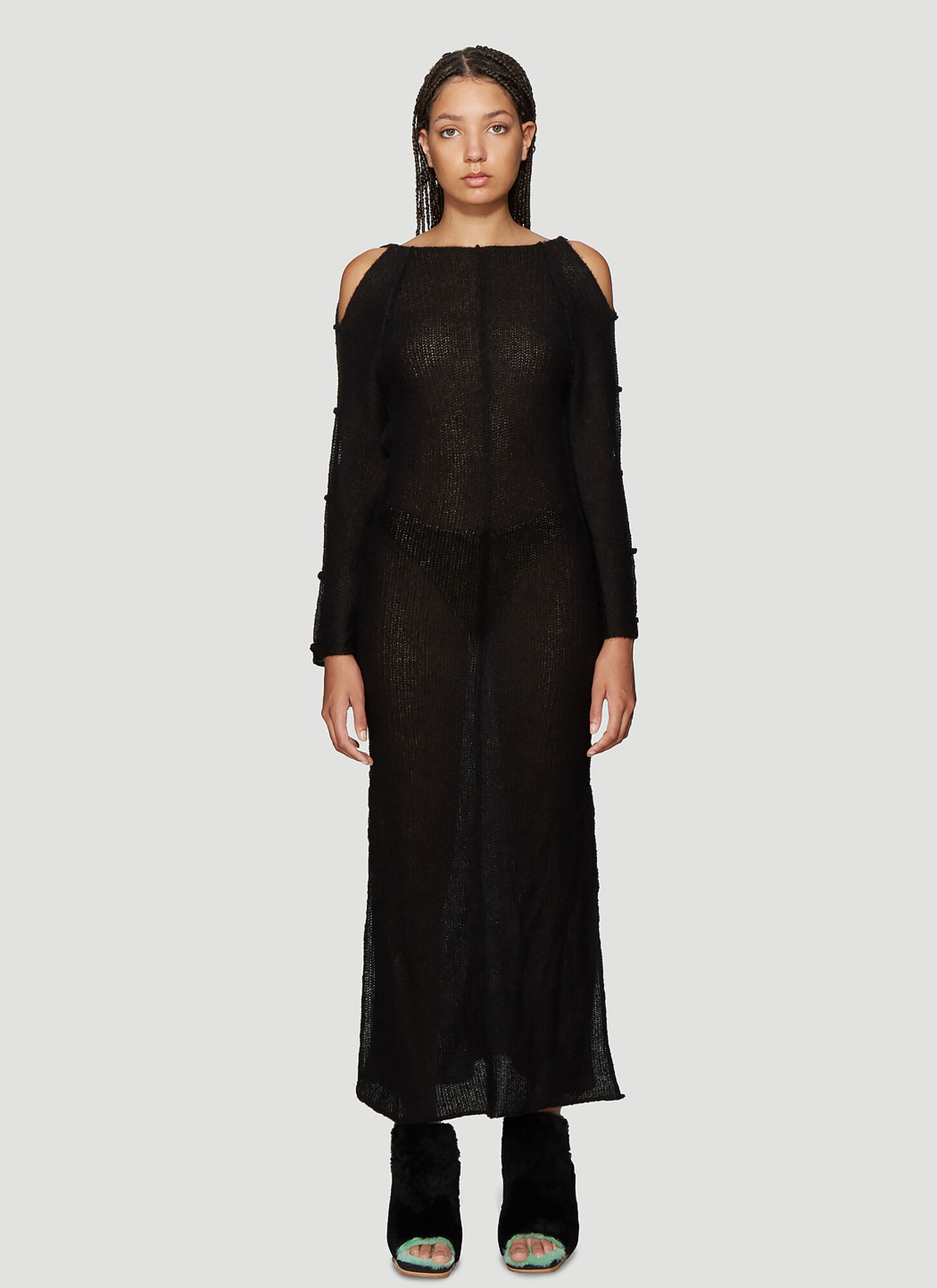 Eckhaus Latta Plunge Back Dress in Black