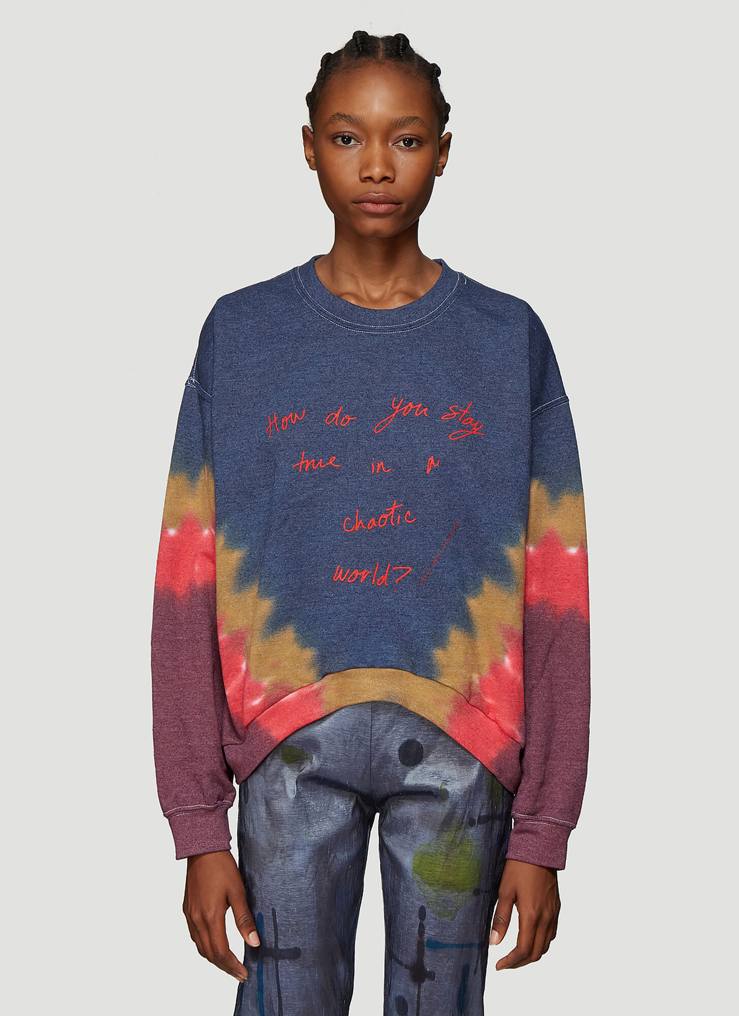 Collina Strada World Crew Sweatshirt in Blue