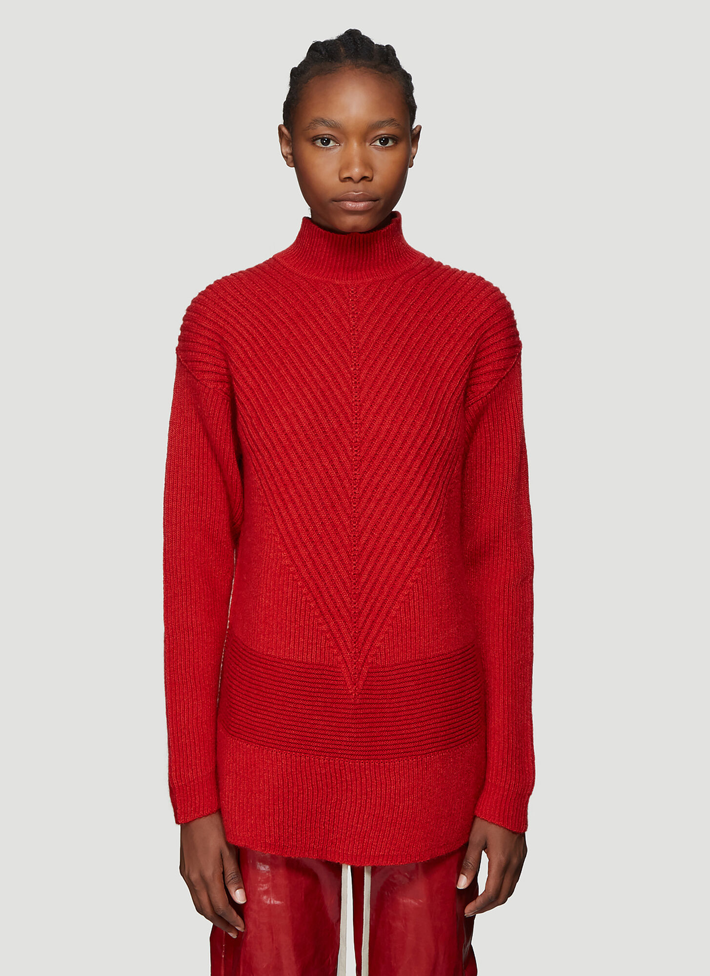 Rick Owens Ribbed Knit Turtleneck Sweater in Red