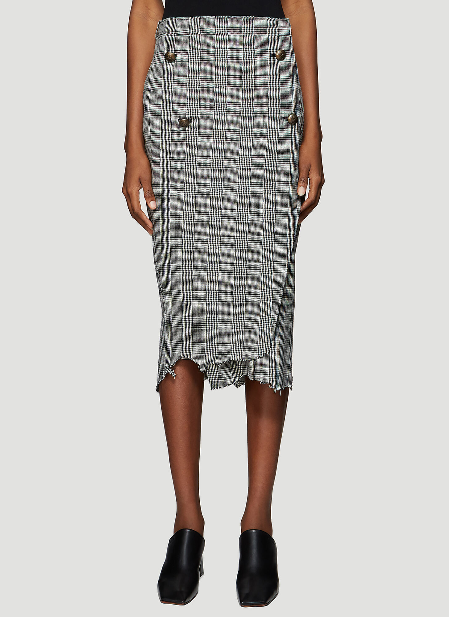 Vetements Four Button Check Skirt in Grey