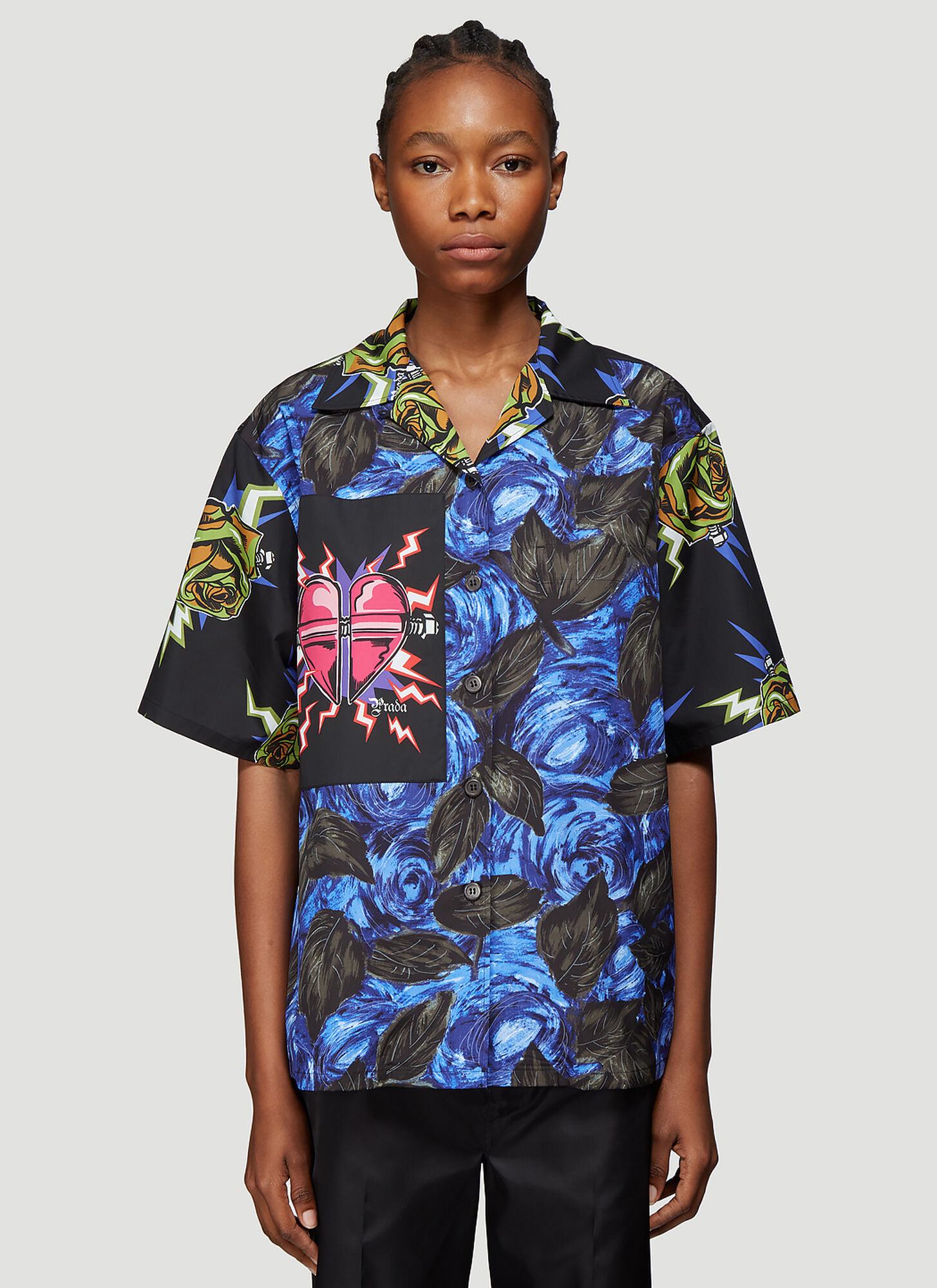 Prada Short Sleeve Print Shirt in Blue and Black