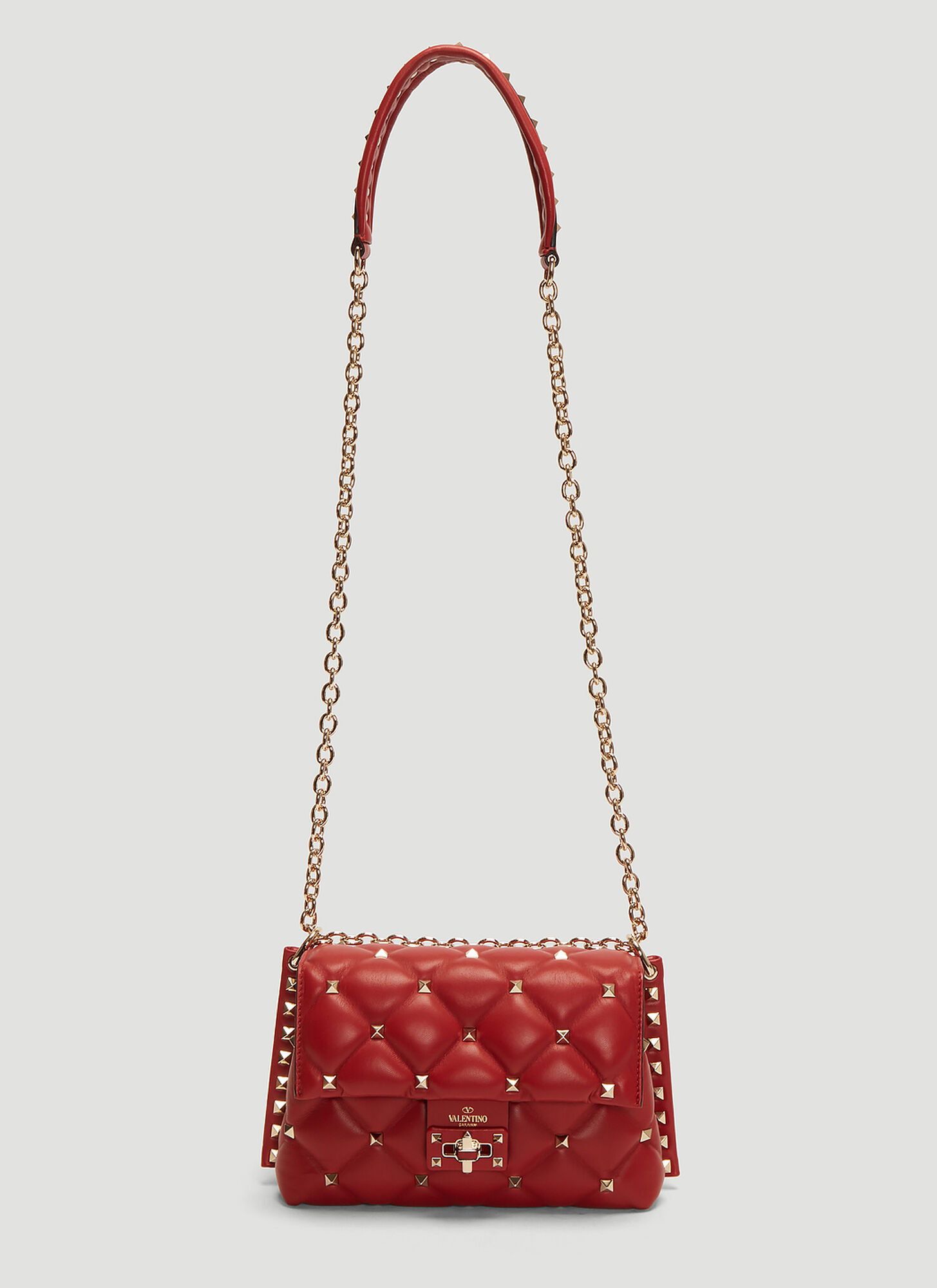 Photo of Valentino Small Candystud Shoudler Bag in Red - Valentino Shoulder Bags