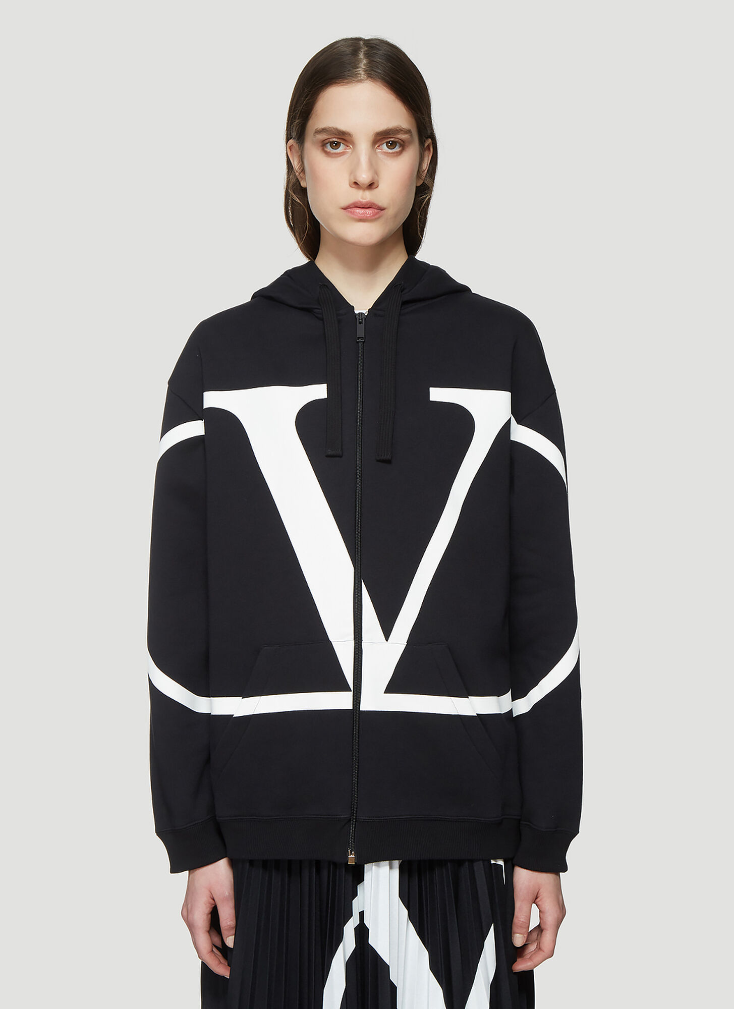 Valentino Logo Zip Up Hooded Sweatshirt in Black
