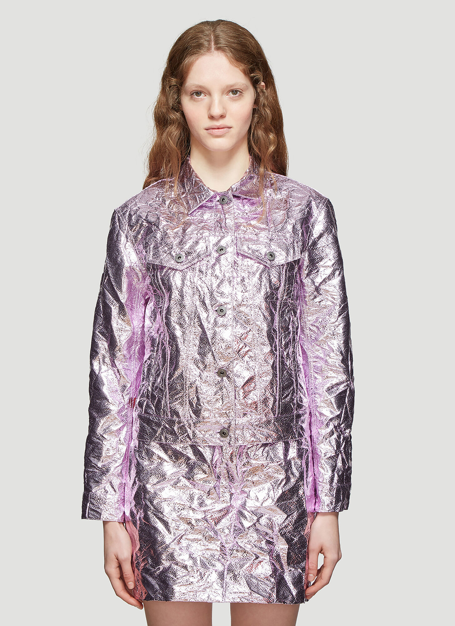 Sies Marjan Alby Laminated Crinkle Cropped Jacket in Pink