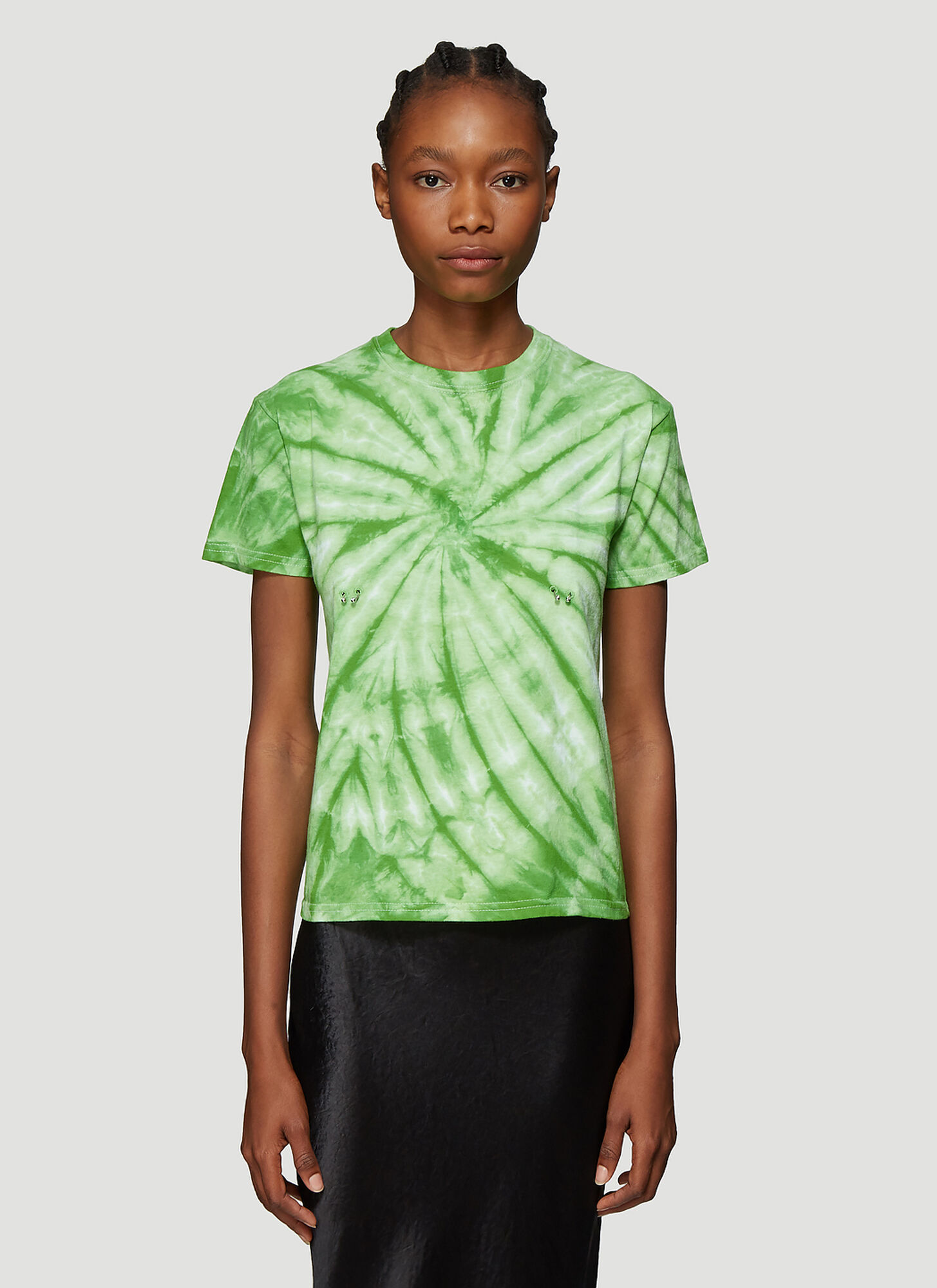 Collina Strada Pierced Tie Dye T-Shirt in Green