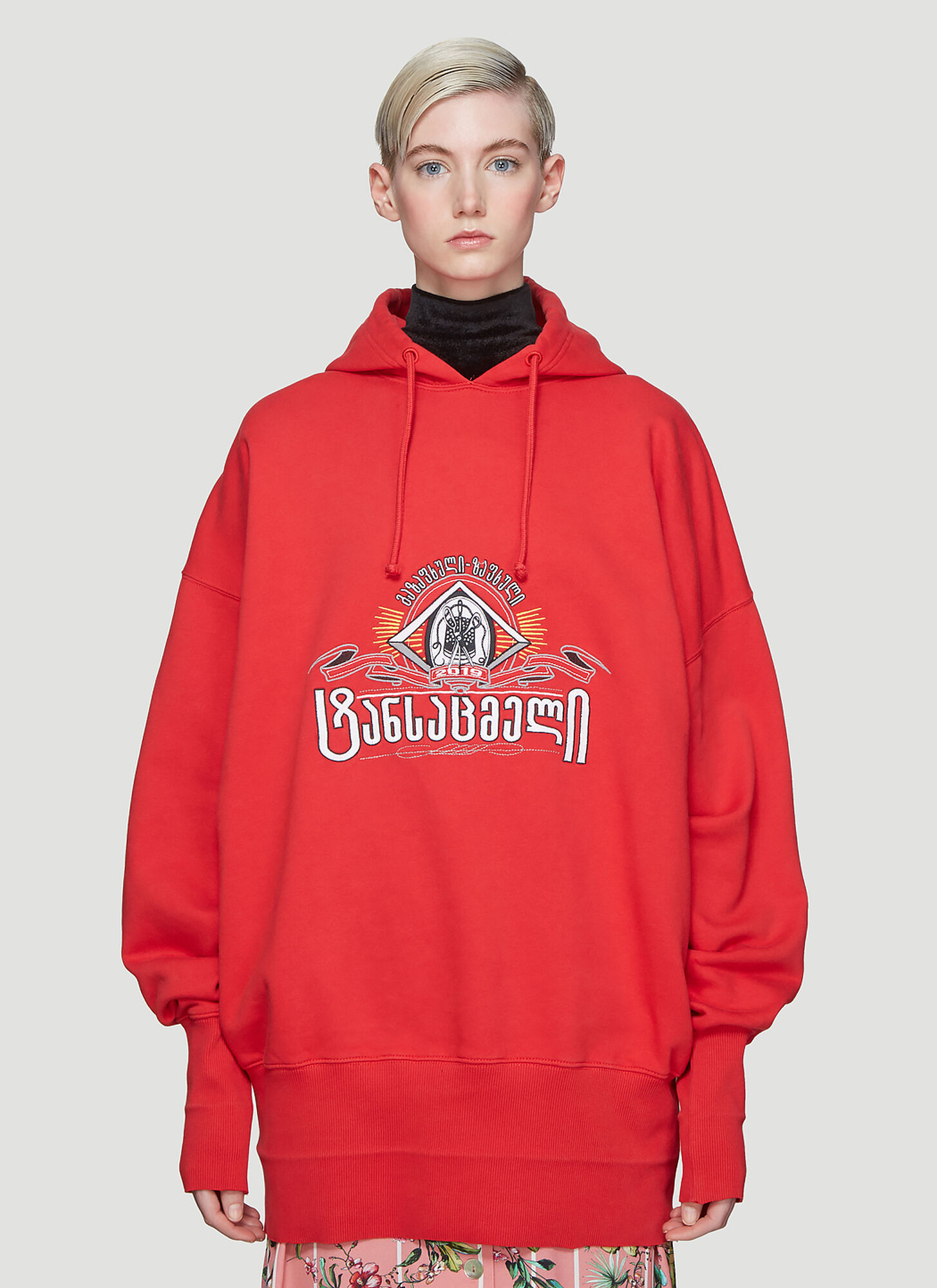 Vetements Hooded Secret Society Sweatshirt in Red