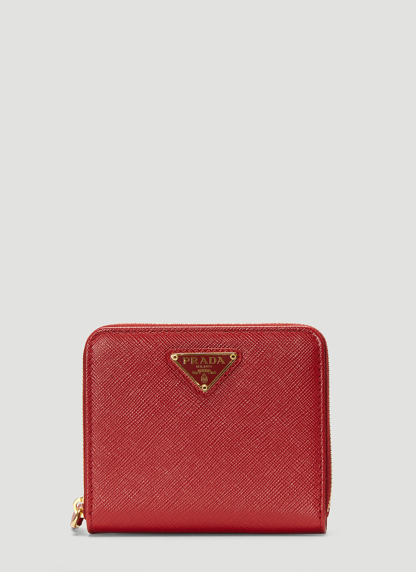 Prada Small Zip-Up Wallet in Red