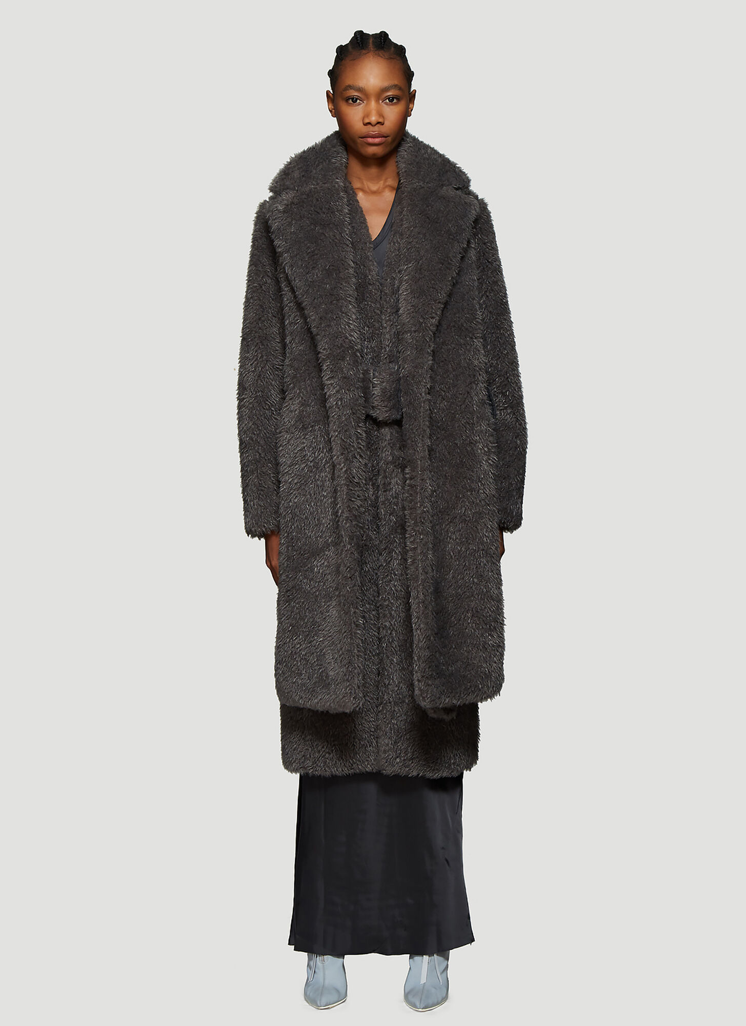 Helmut Lang Detachable Collar Faux Fur Coat in Grey