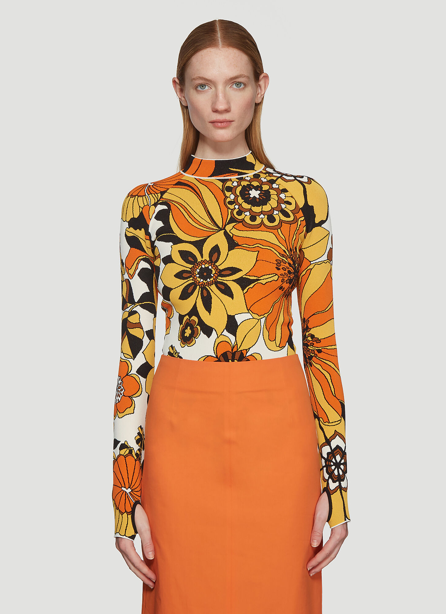 Kwaidan Editions Floral Jacquard Bodysuit in Orange