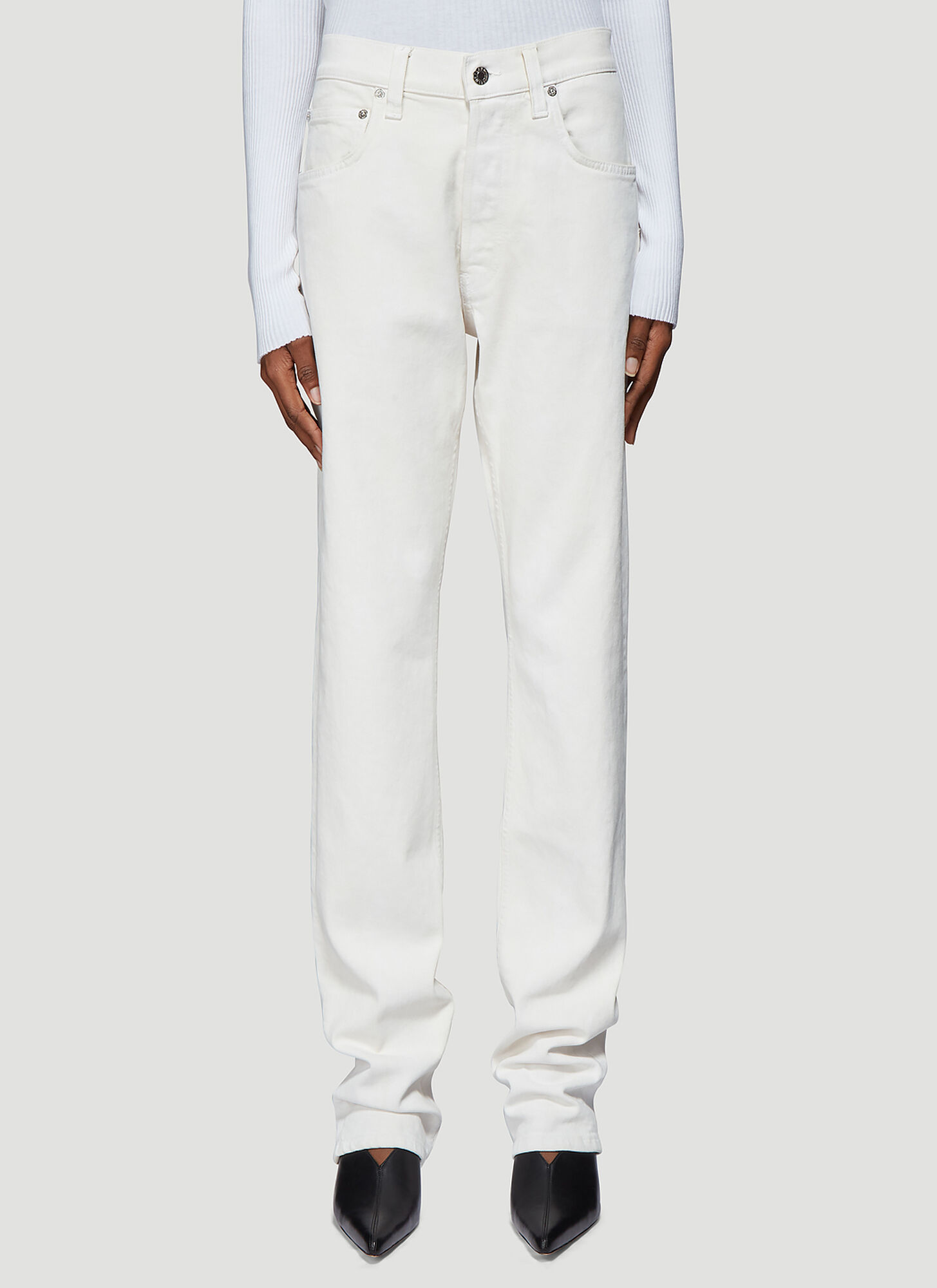 Helmut Lang Straight Leg Jeans in White