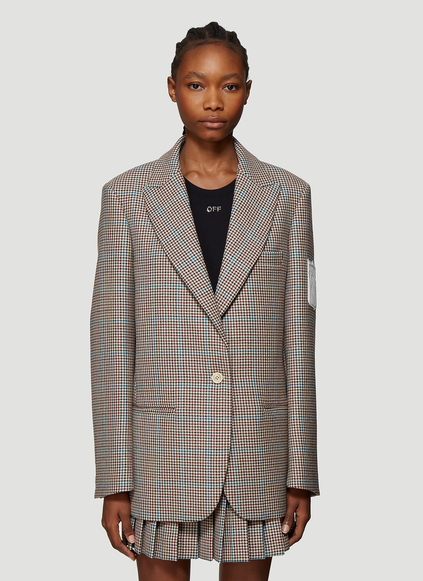 Off-White Houndstooth Single Breasted Blazer in Brown