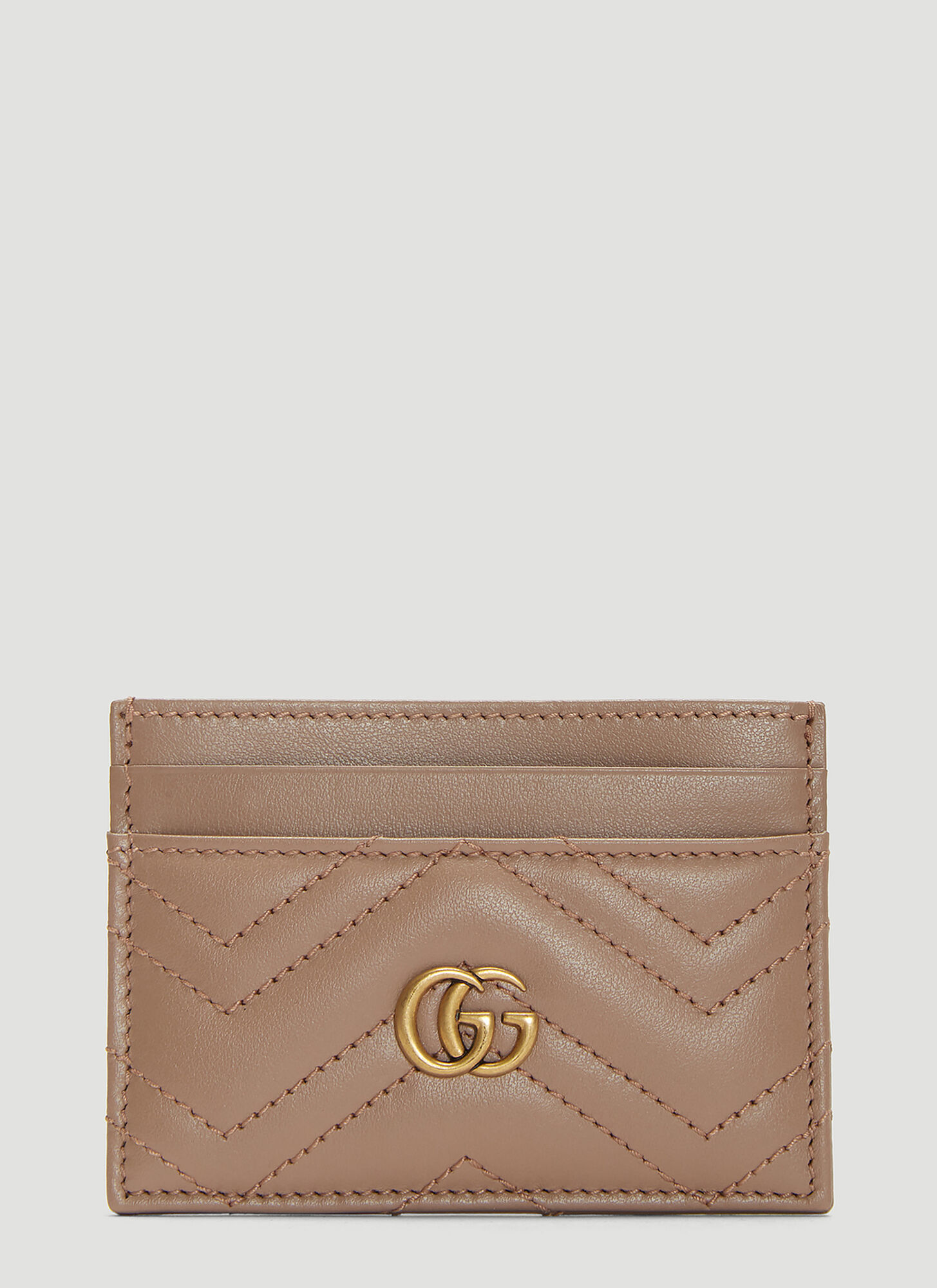 Gucci GG Marmont Card Case in Beige
