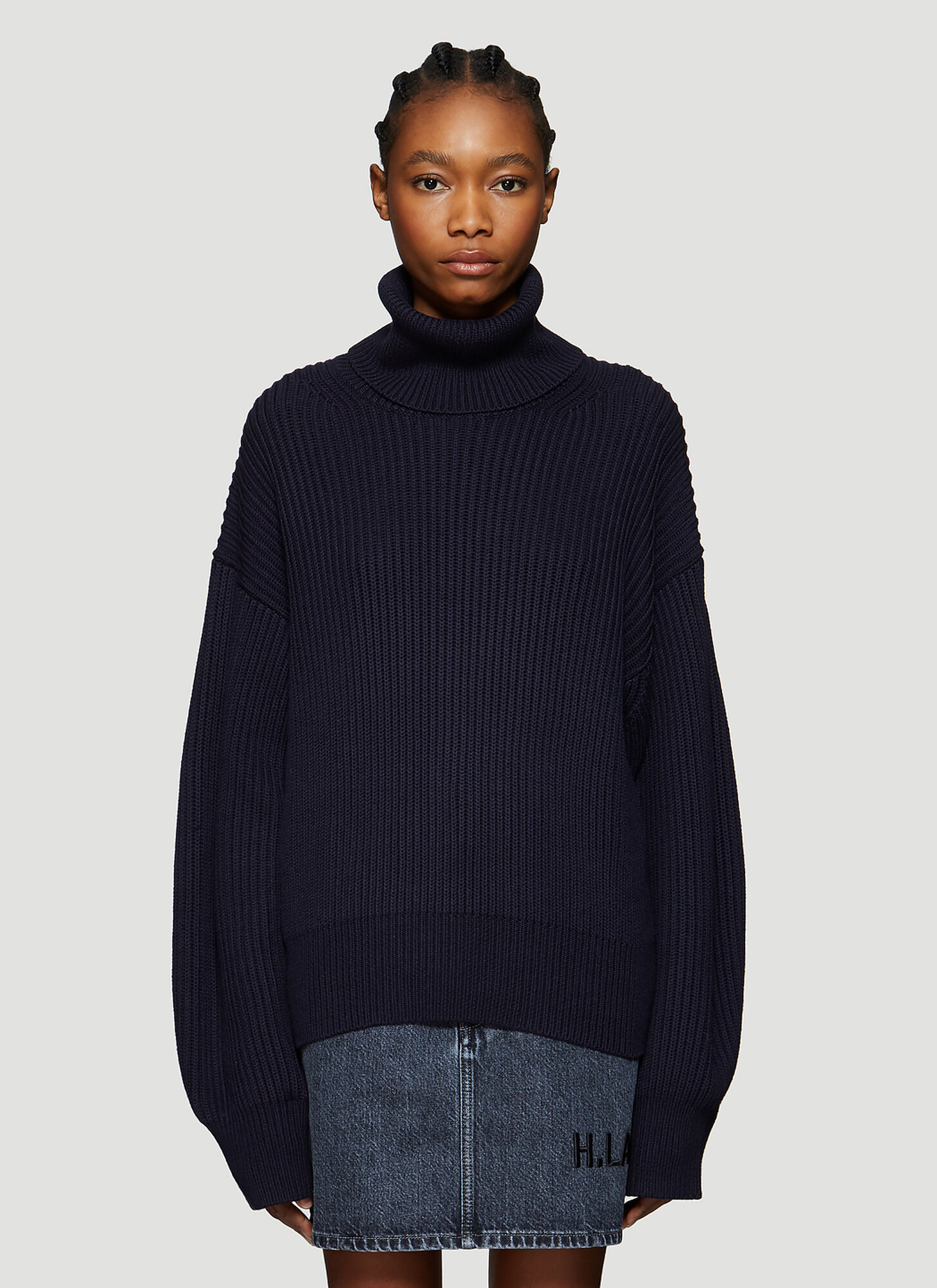 Helmut Lang Roll-Neck Ribbed Knit Sweater in Navy