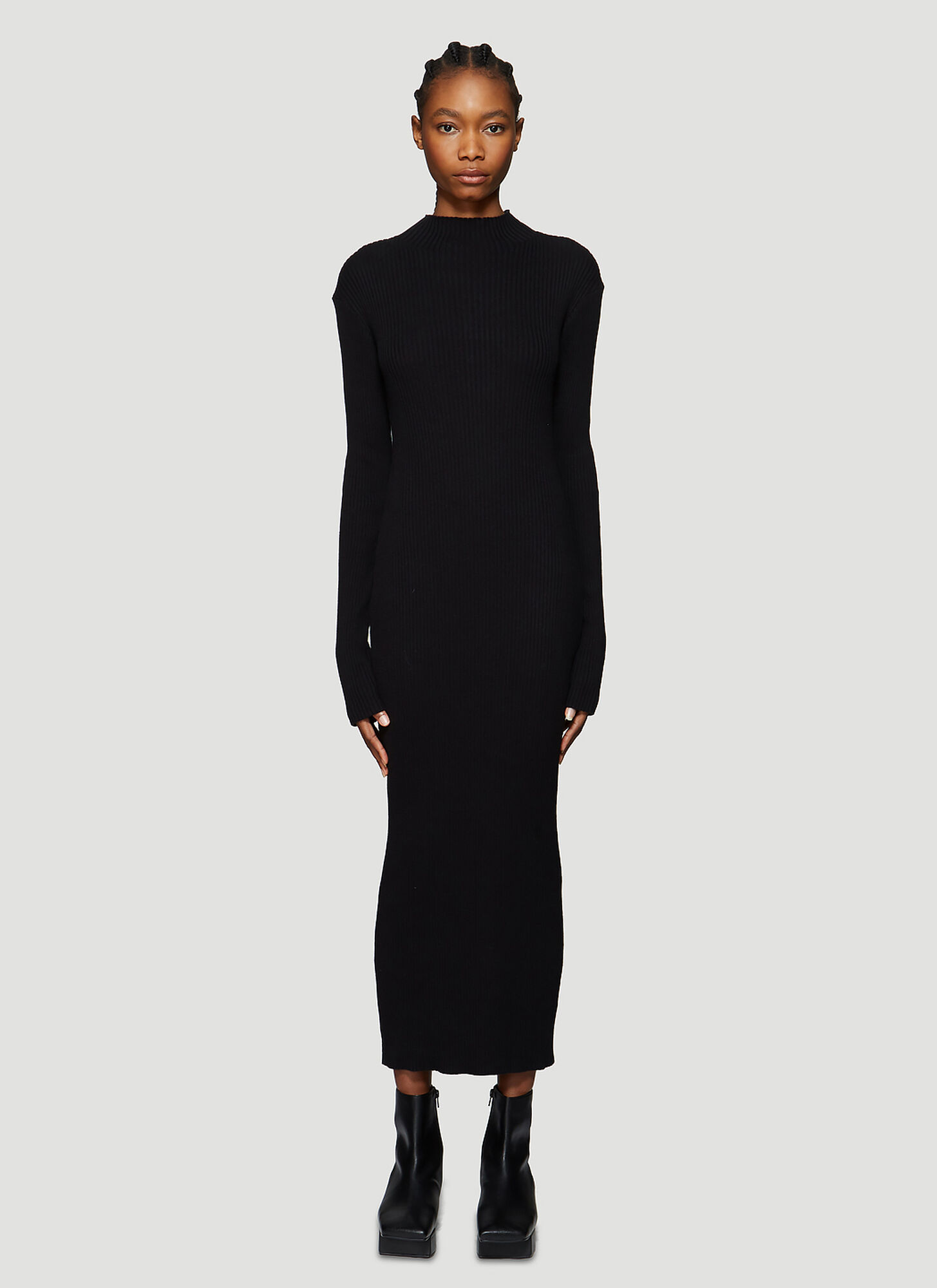 Our Legacy High-Neck Ribbed Knit Dress in Black