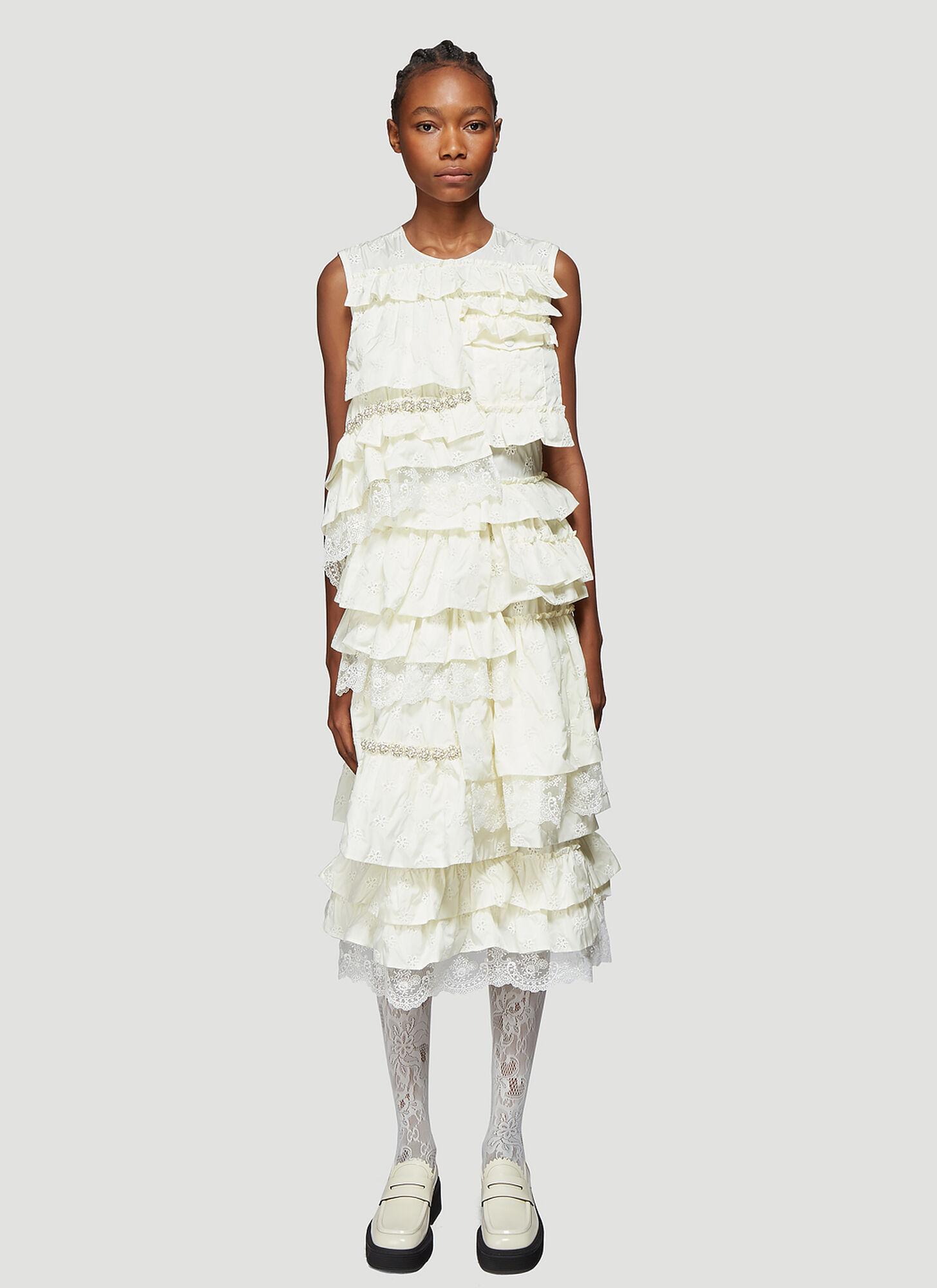 4 Moncler Simone Rocha Abito Broderie Anglaise Dress in White