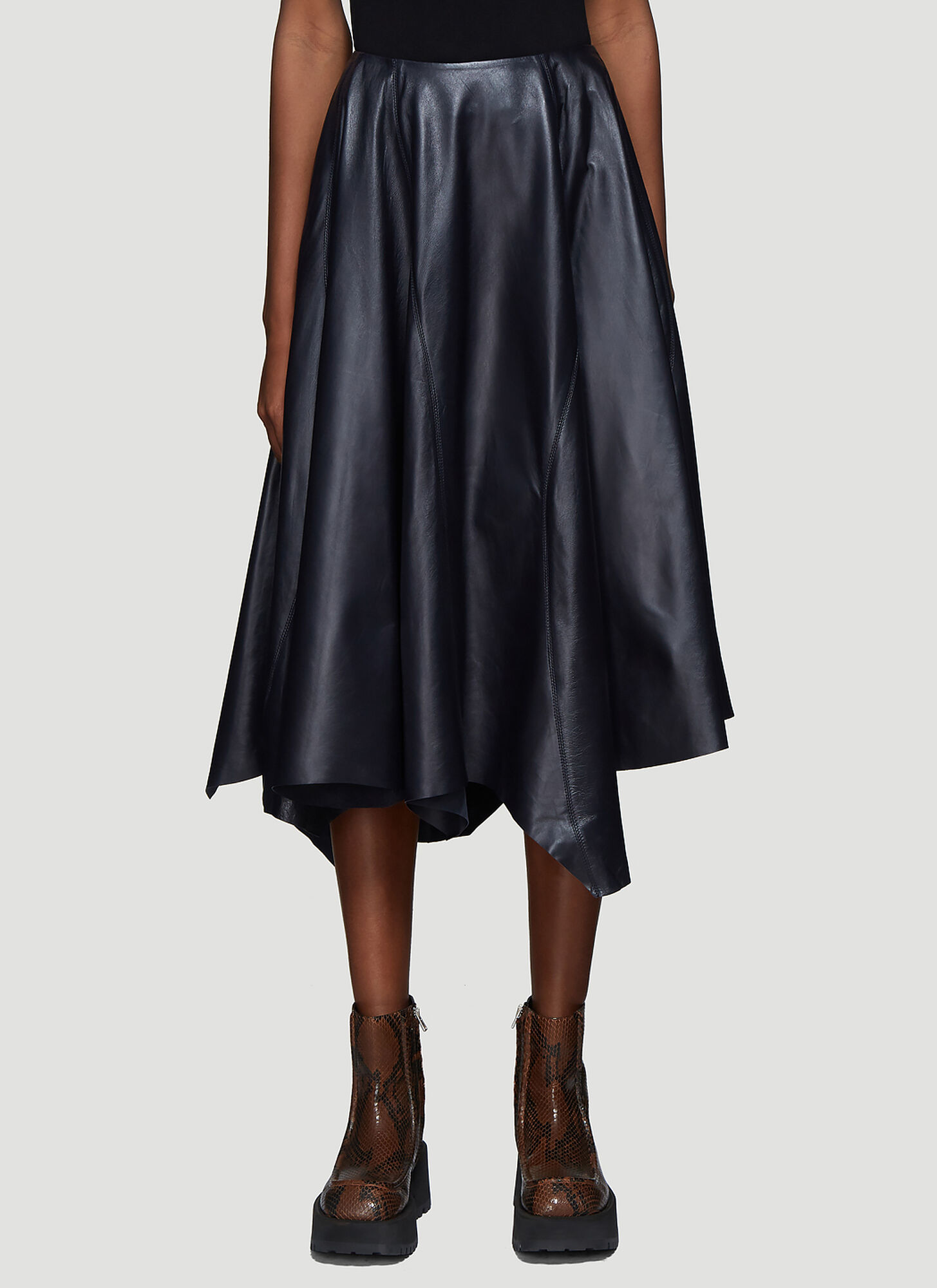 Marni Asymmetric Hem Leather Skirt in Navy