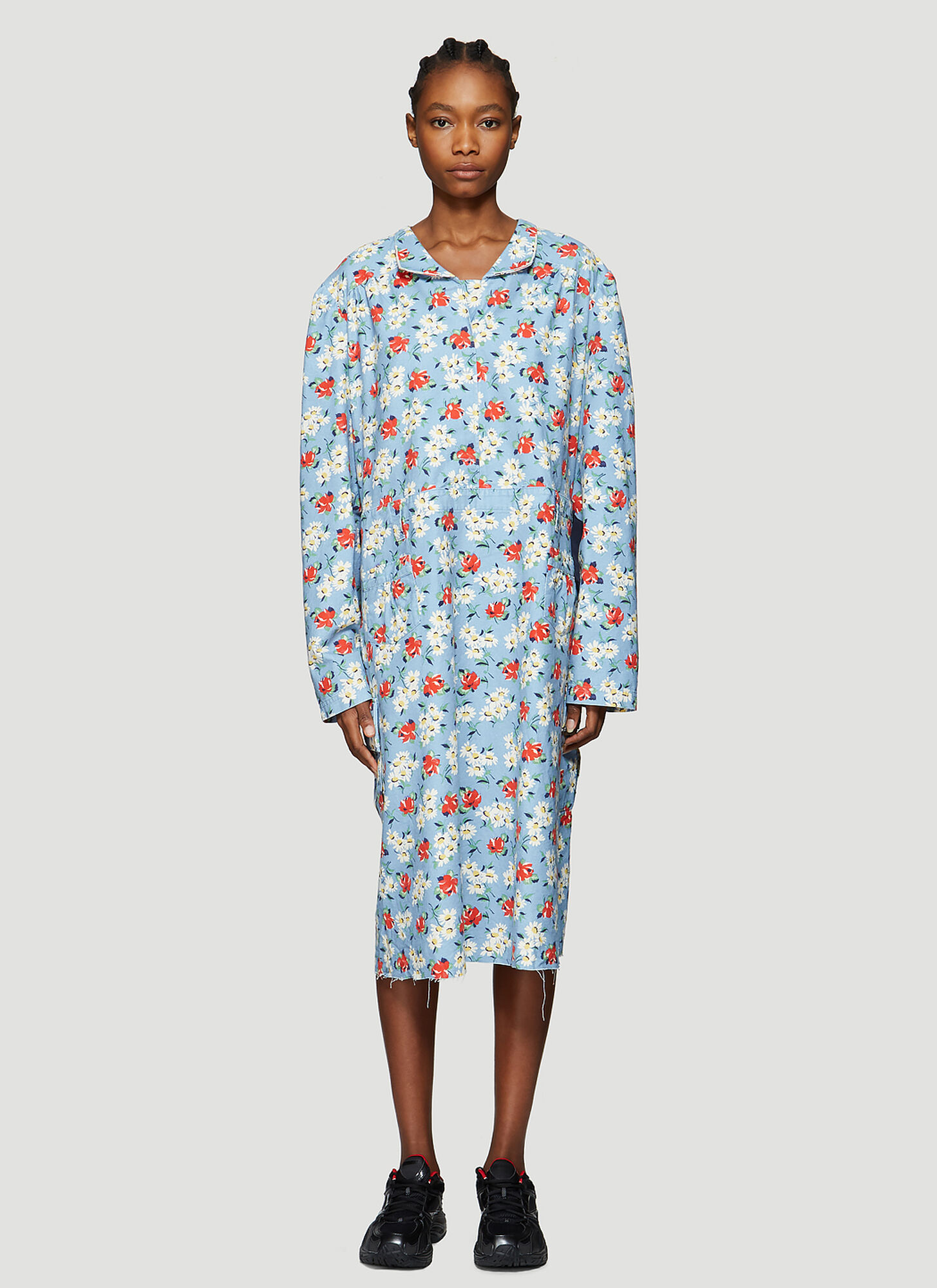 Vetements Floral Print Cargo Dress in Blue