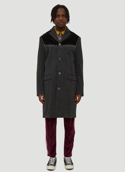 Palm Angels Coats STUDDED COAT IN GREY
