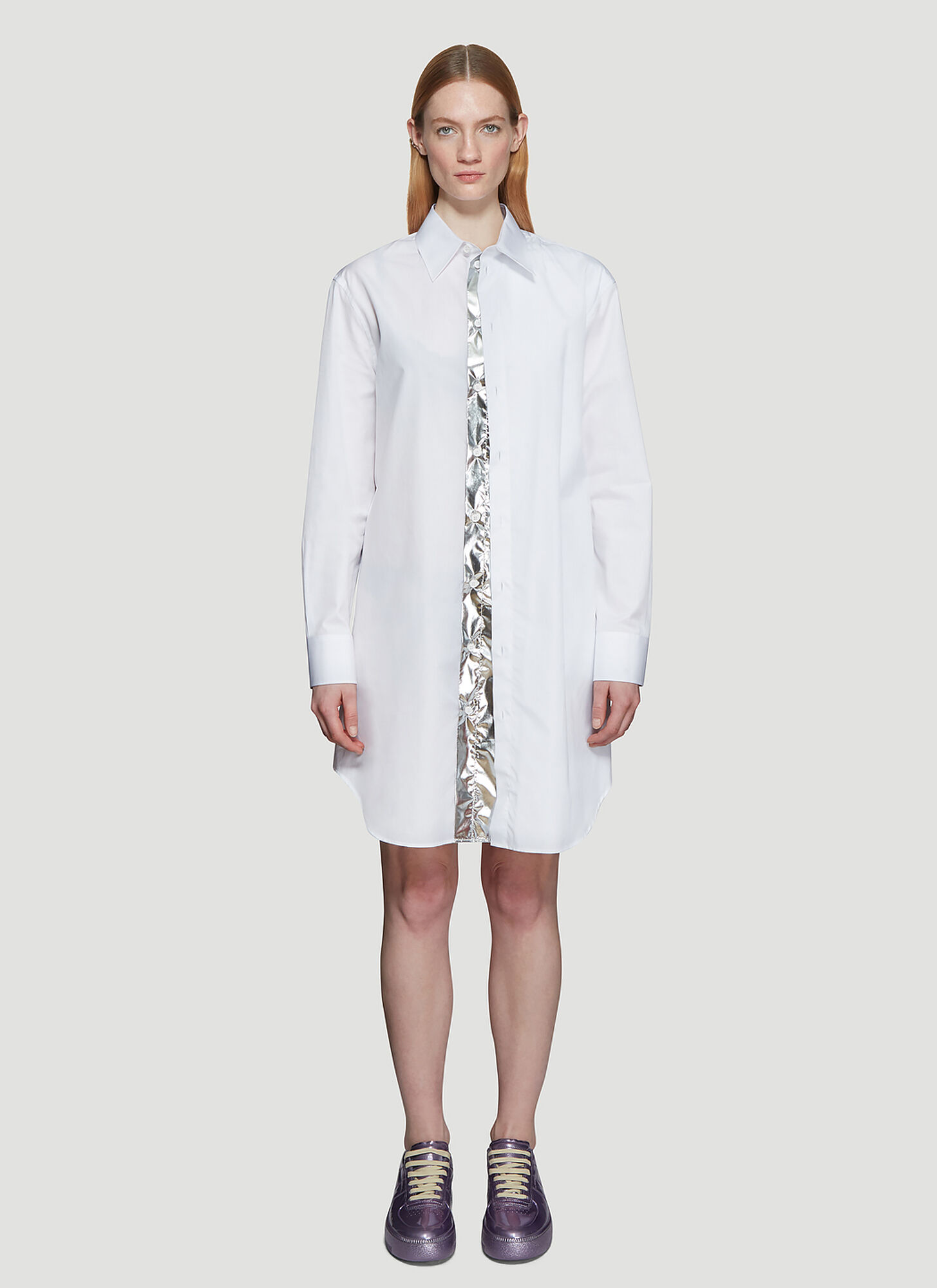 Maison Margiela Concealed Silver Foil Panel Shirt in White