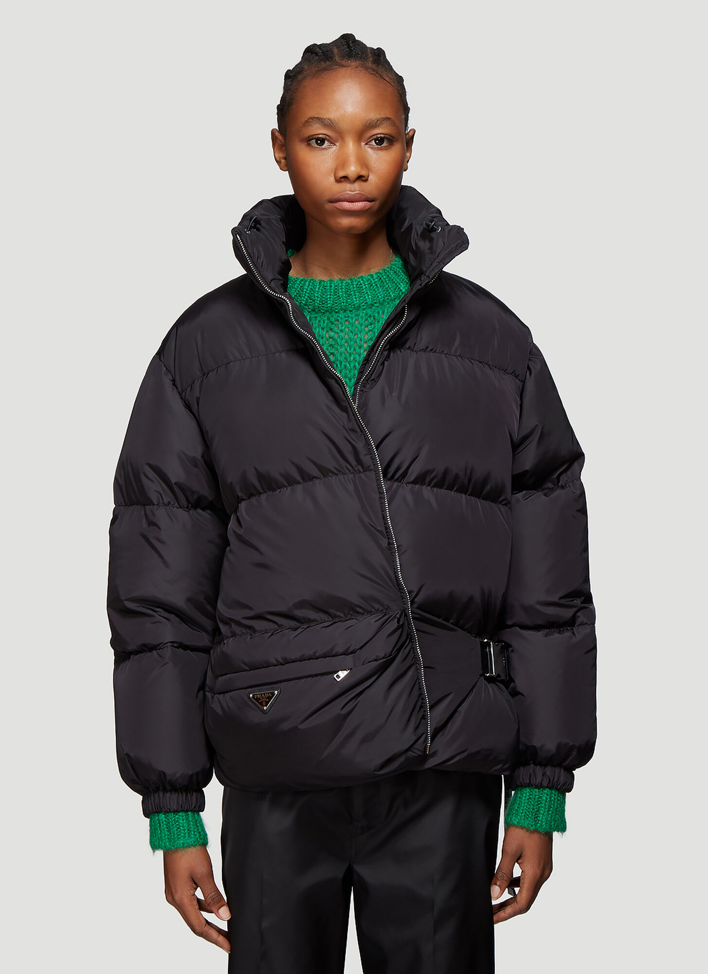 Prada Nylon Quilted Shell Down Jacket in Black