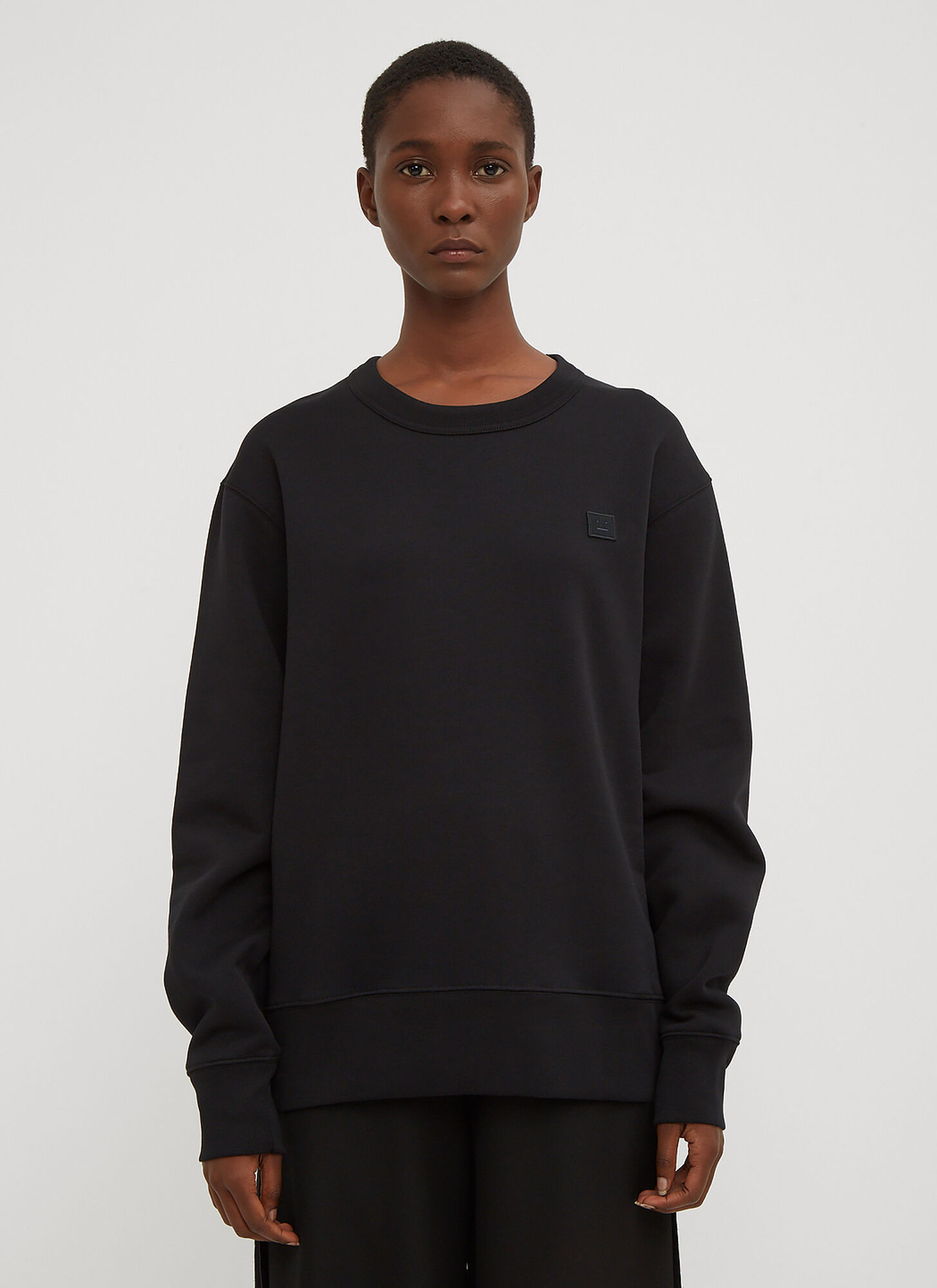 Acne Studios Fairview Oversized Face Embroidered Sweater in Black