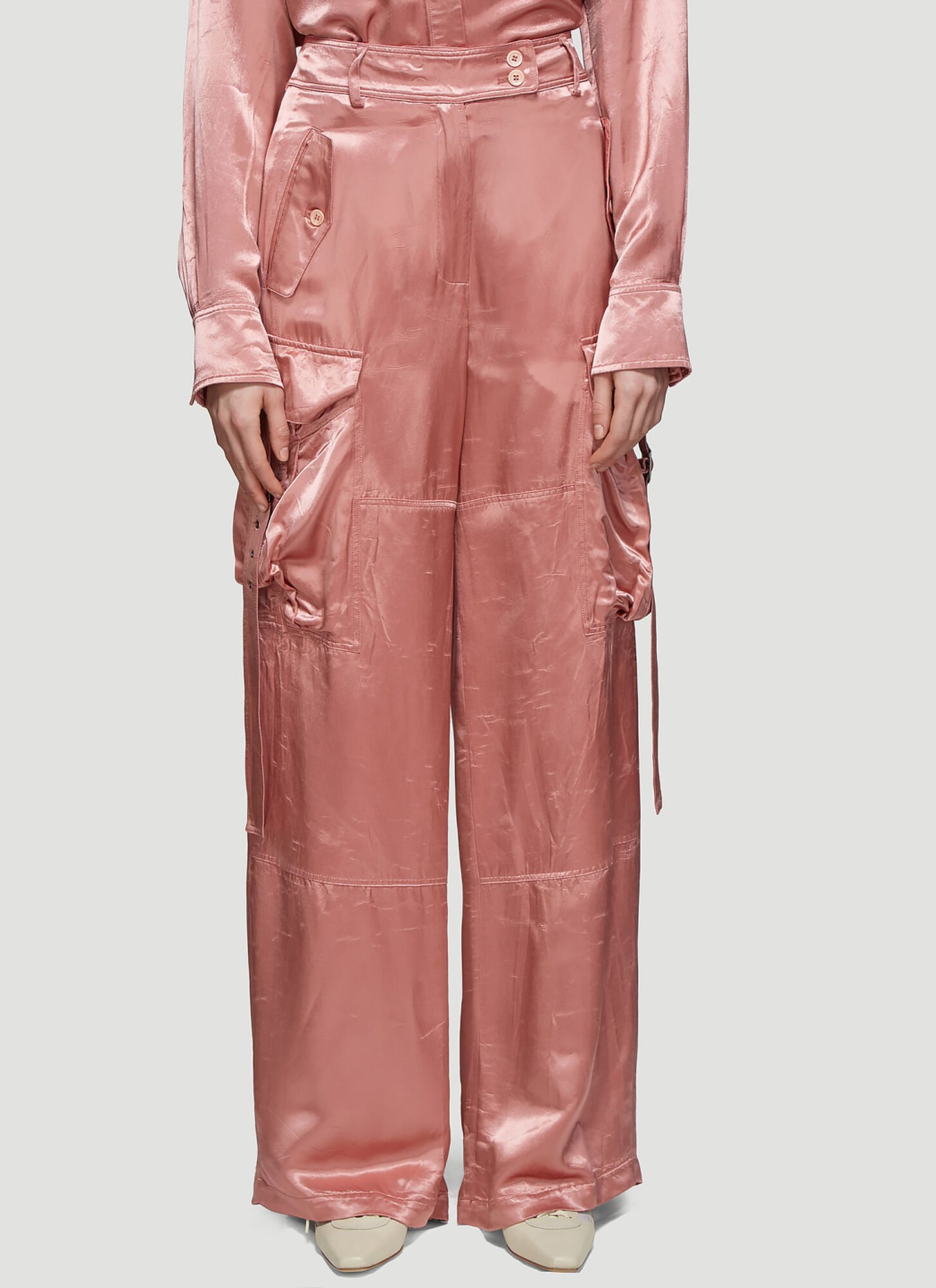 Sies Marjan Sammie Washed Satin Cargo Pants in Pink