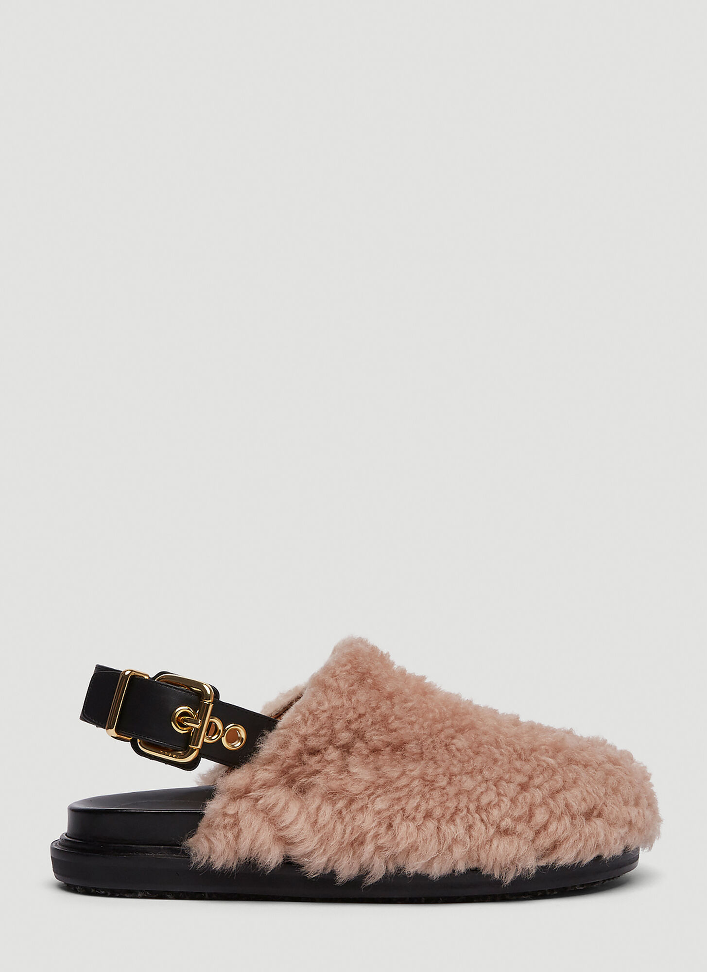 Marni Shearling Mule Sandals in Pink
