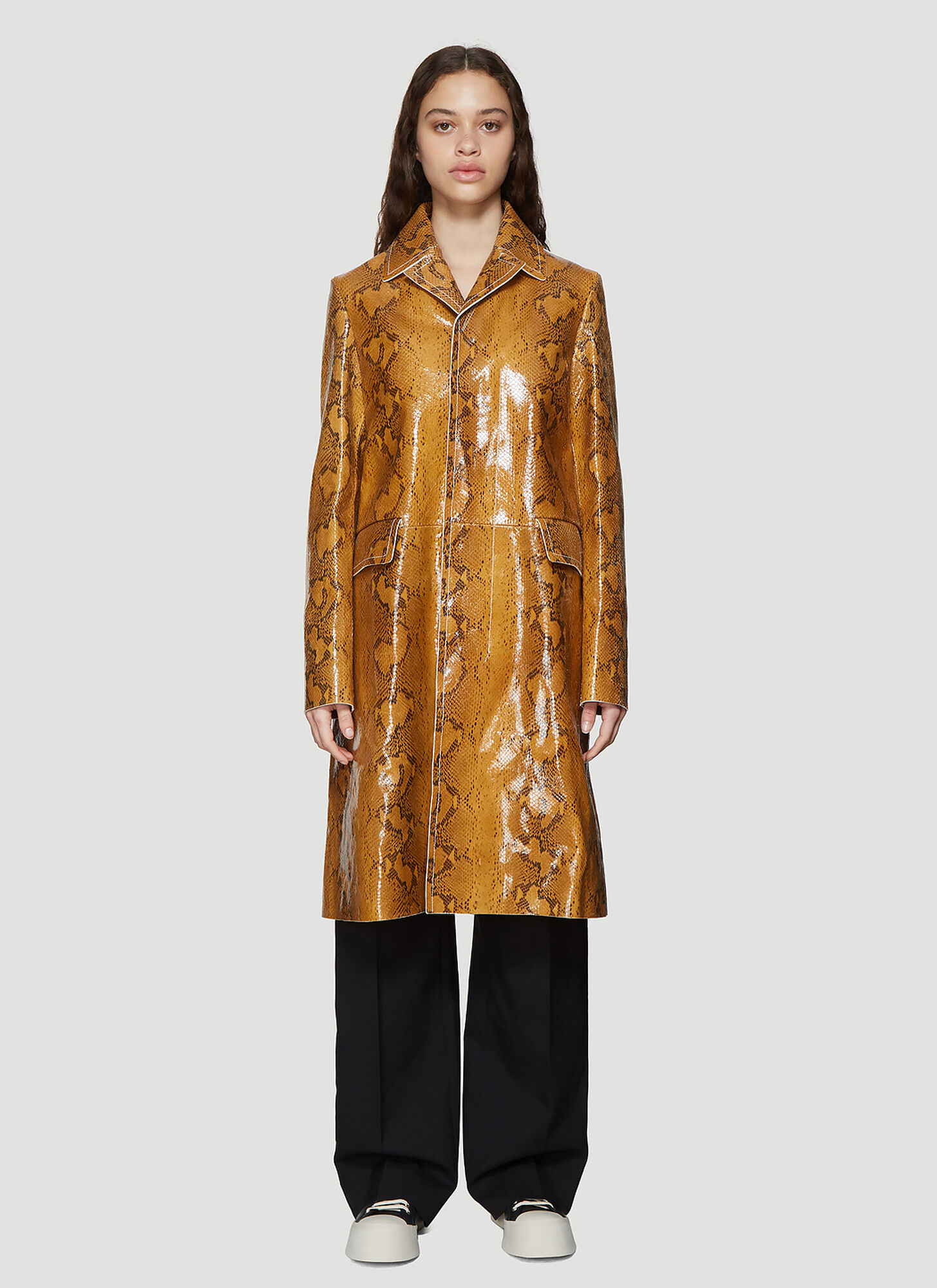 Marni Snakeskin Print Leather Coat in Brown